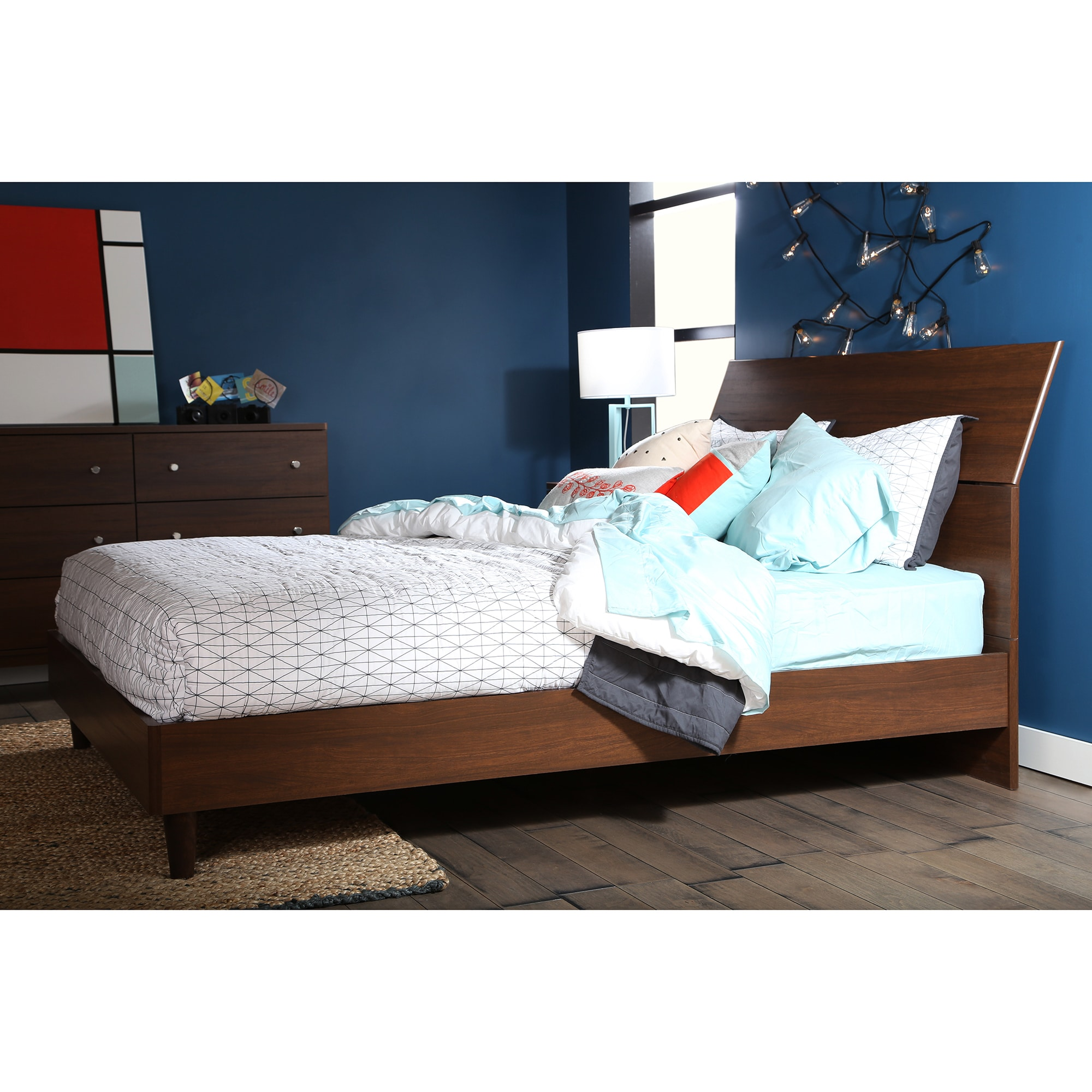 south shore olly midcentury modern queen platform bed with headboard free shipping today  overstockcom  . south shore olly midcentury modern queen platform bed with