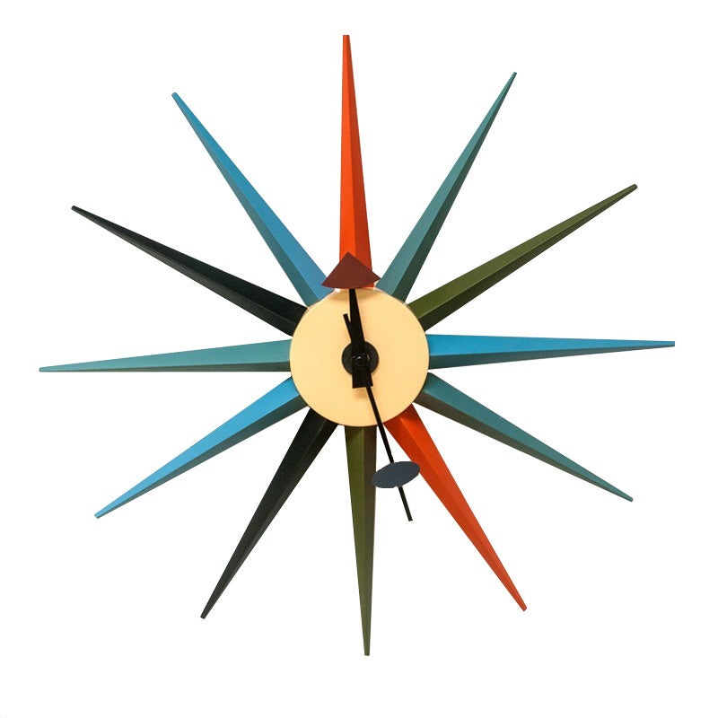 Mod Made Starburst Retro Wall Clock   Free Shipping Today   Overstock    17156123