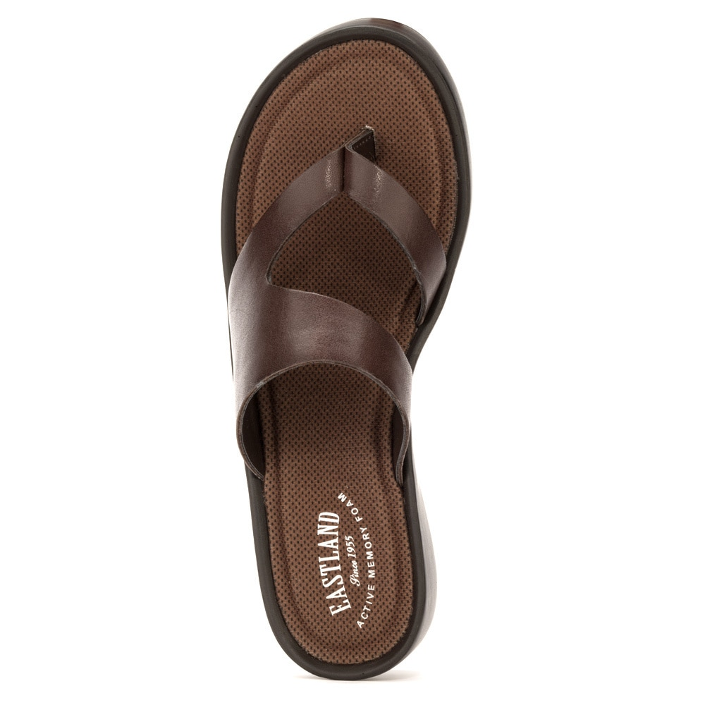 a1f2ebb78b1 Shop Eastland Womens  Laurel  Leather Low-wedge Thong Sandals - Free  Shipping Today - Overstock - 10011134