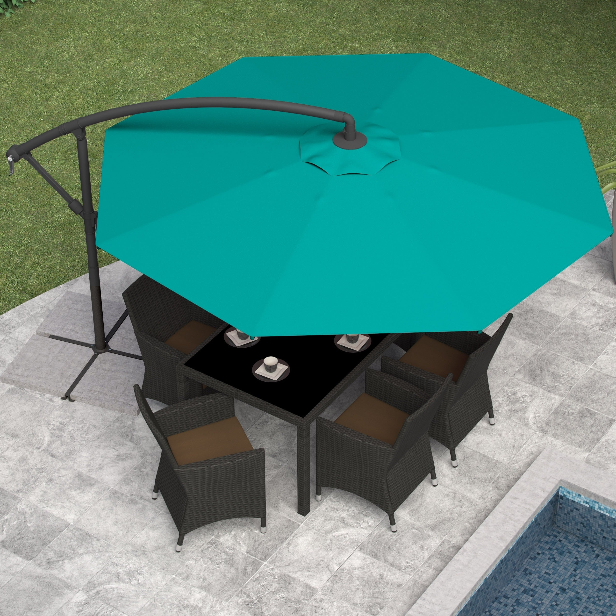 amazon polyester umbrella dp offset feet deluxe garden umbrellas patio tan trademark lawn ca innovations