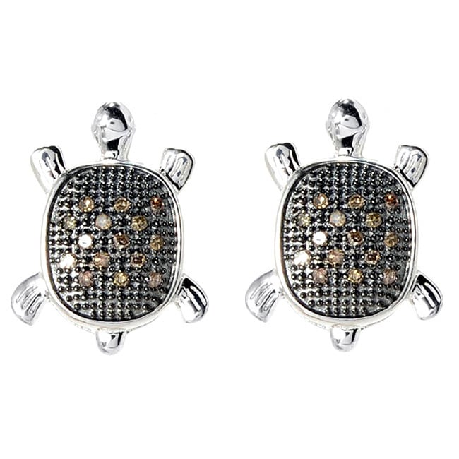 Sterling Silver 1 6ct Tdw Brown Diamond Turtle Earrings On Free Shipping Today 10014958