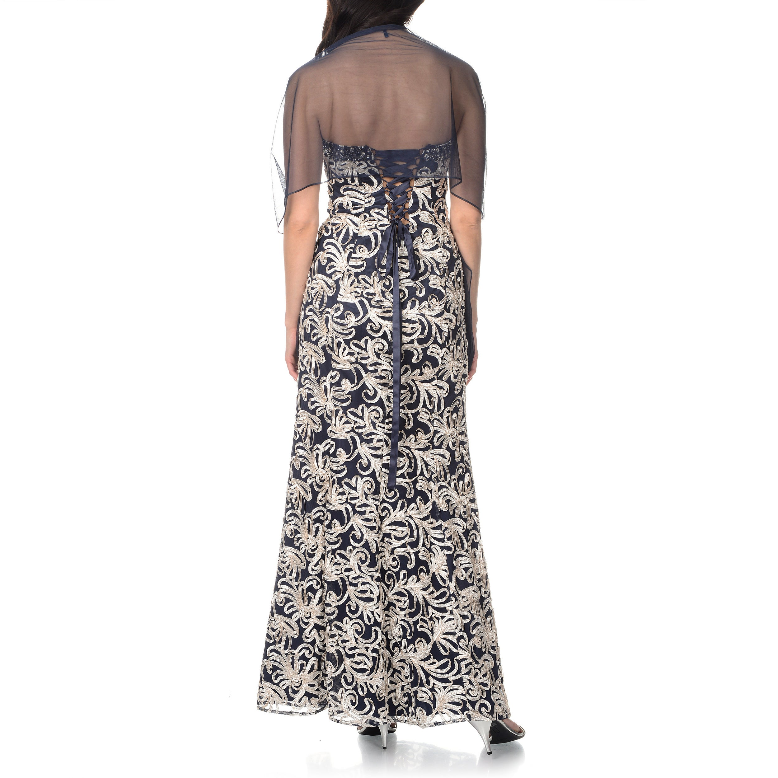 9eec6e3e8b6 Shop Ignite Evenings by Carol Lin Women s Gown with Scarf - Free Shipping  Today - Overstock - 10017111