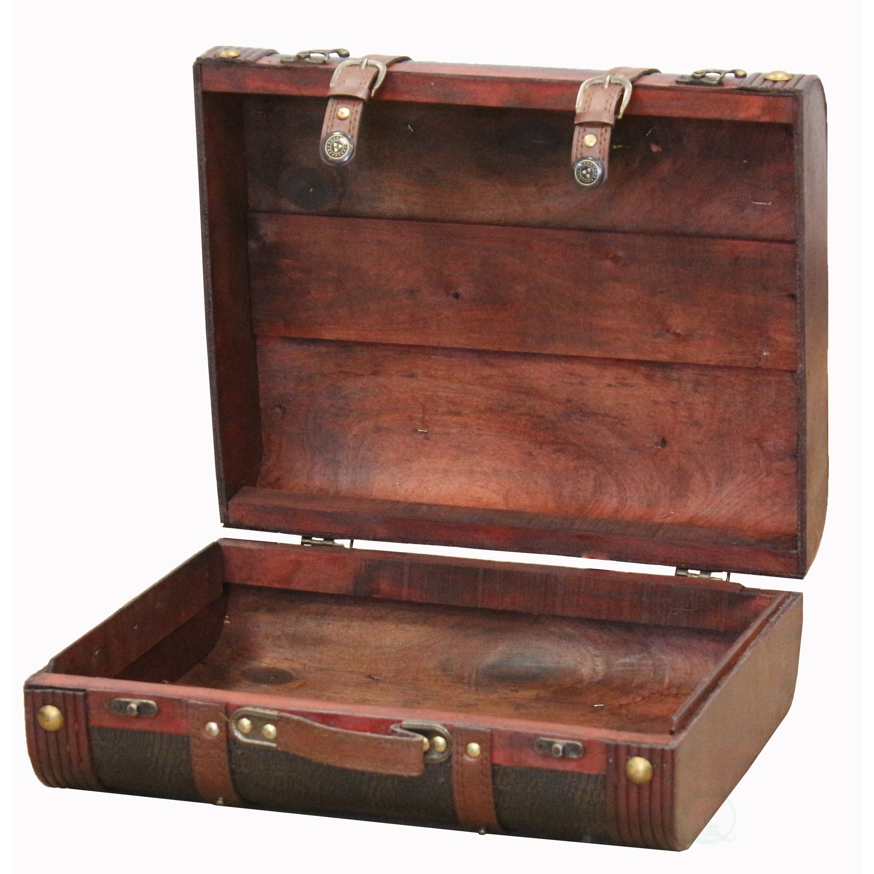 Shop Decorative Faux Gator Leather Suitcase   Cherry   Free Shipping Today    Overstock.com   10018029