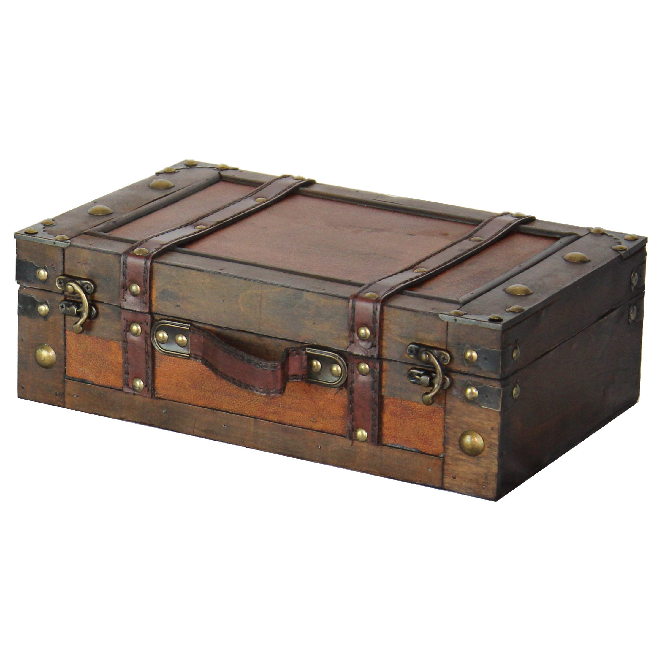 Old Style Suitcase With Straps Set of 2 brown Free Shipping