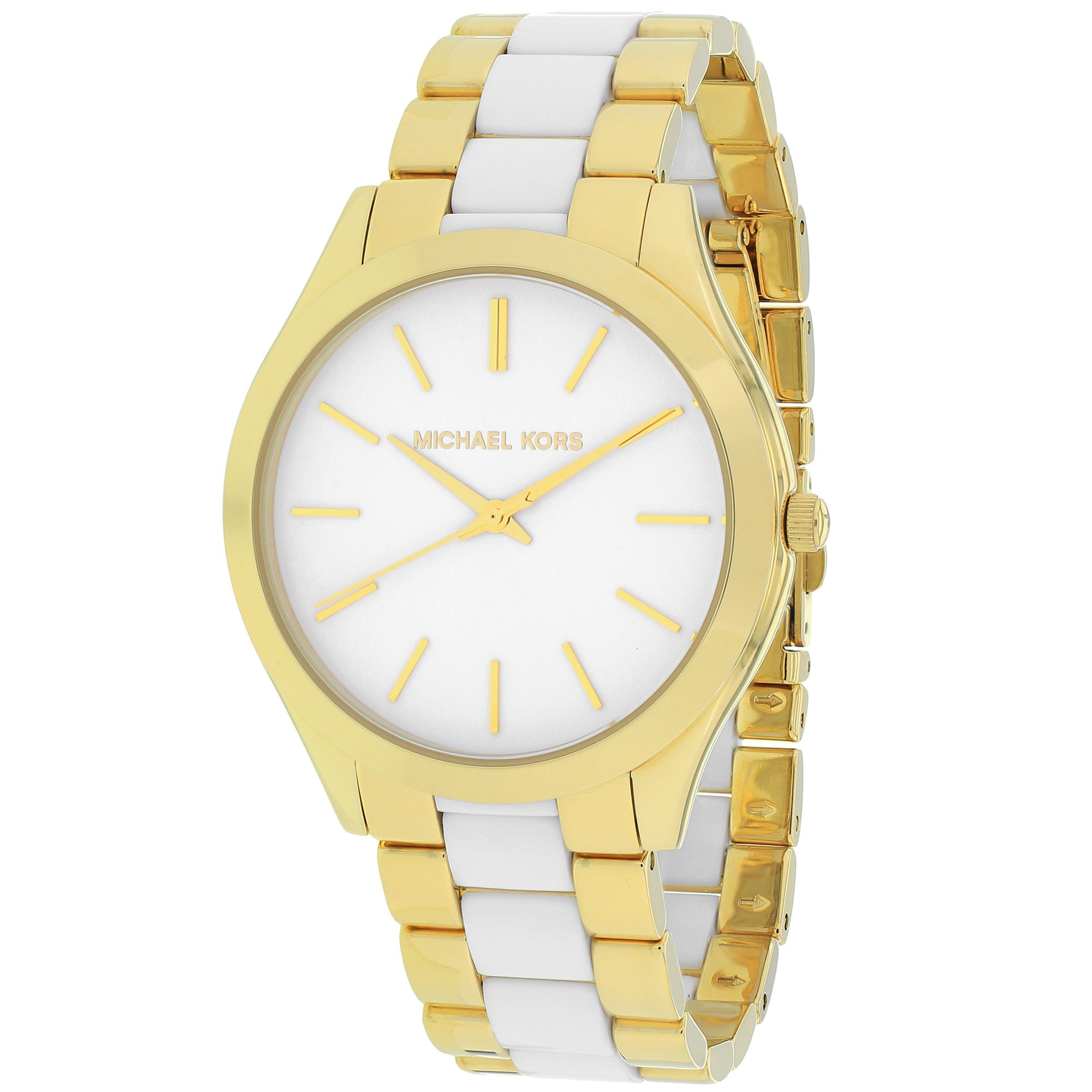 a20ad957c60f Shop Michael Kors Women s MK4295  Slim Runway  Two tone Stainless Steel  Watch - Free Shipping Today - Overstock - 10018749