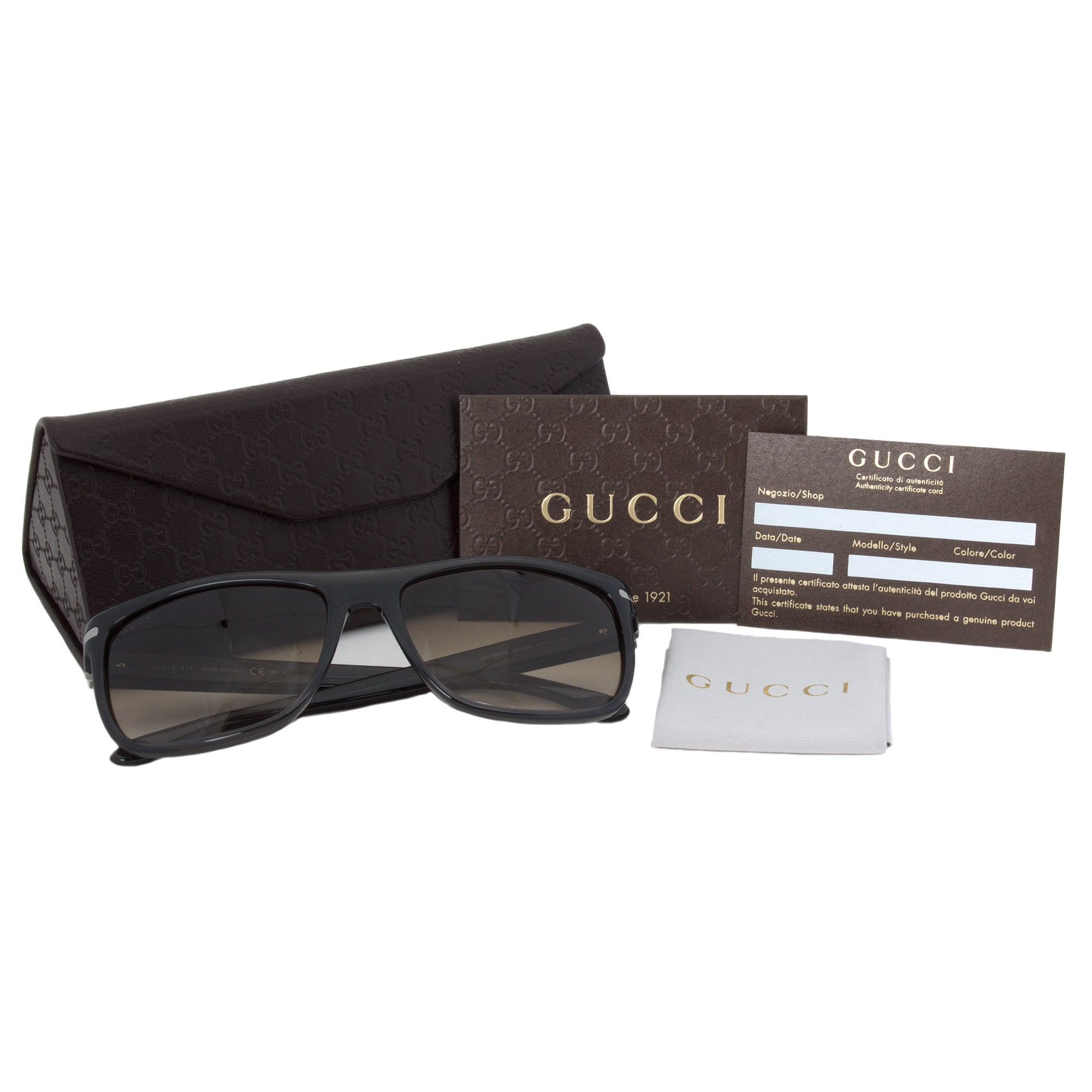 dd9d5b16ea Shop Gucci Men s 1027 S Plastic Rectangular Sunglasses - Grey - Free  Shipping Today - Overstock - 10019063