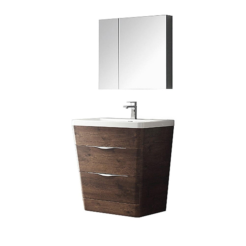 Shop fresca milano 32 inch rosewood modern bathroom vanity with medicine cabinet free shipping today overstock com 10019890
