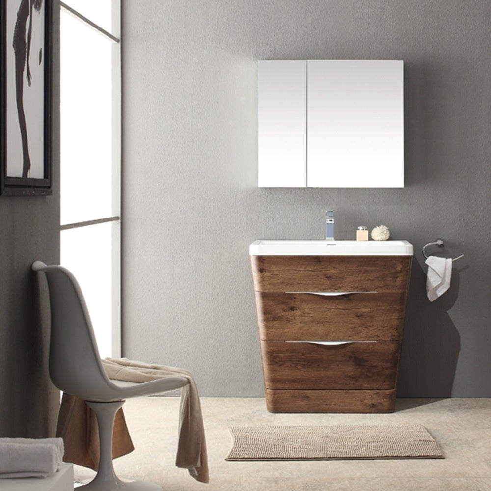 Shop Fresca Milano 32-inch Rosewood Modern Bathroom Vanity with ...