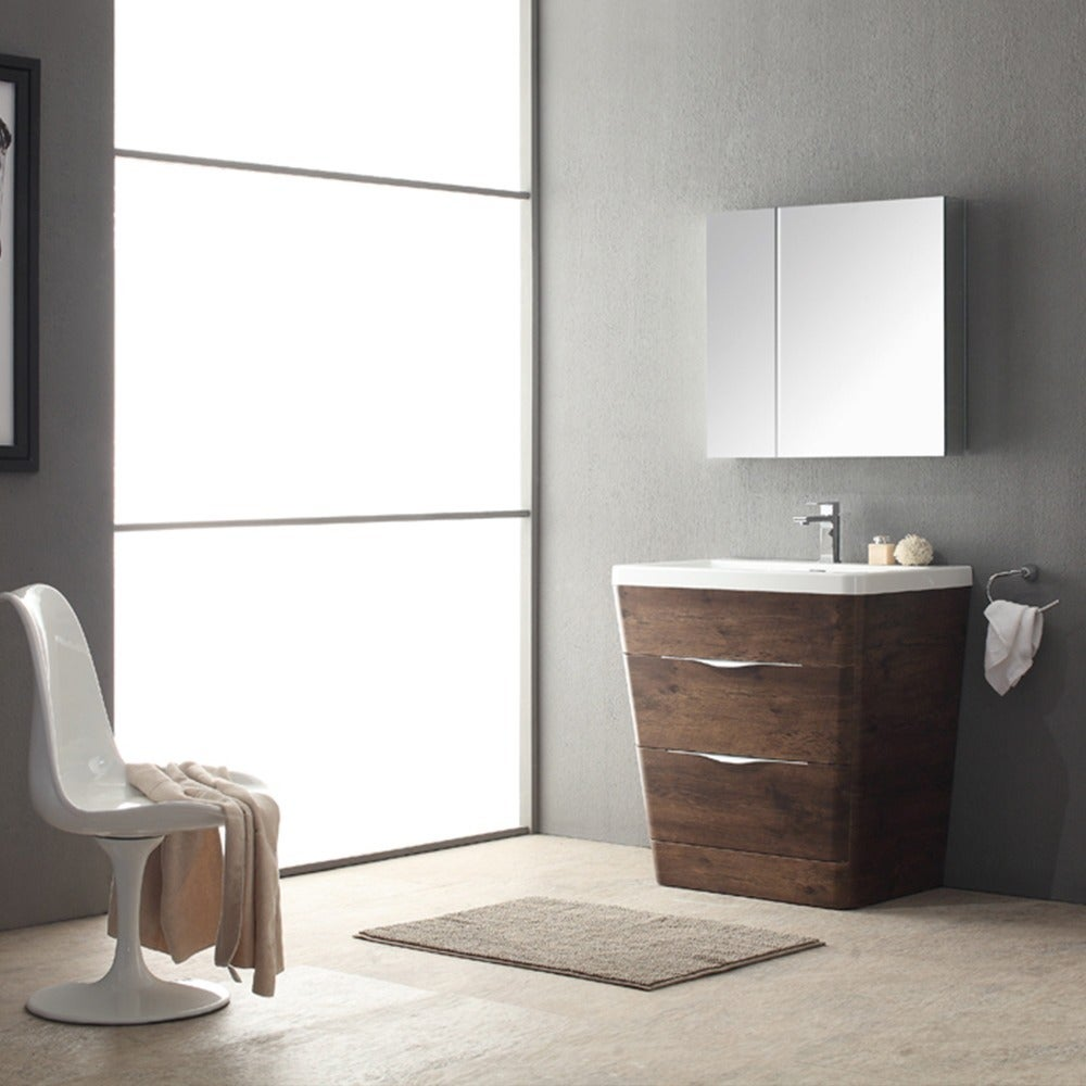 Fresca Milano 32 Inch Rosewood Modern Bathroom Vanity With Medicine Cabinet Free Shipping Today 10019890