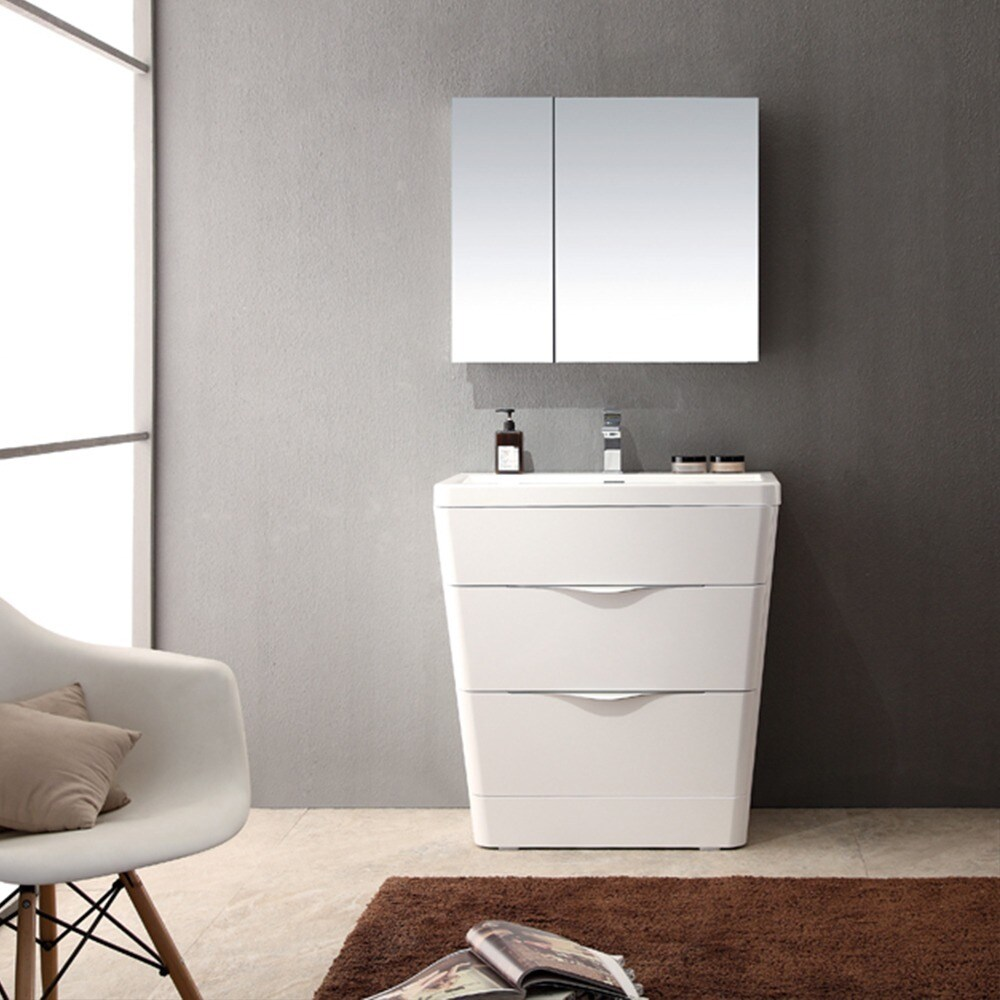 Fresca Milano 32-inch Glossy White Modern Bathroom Vanity with ...