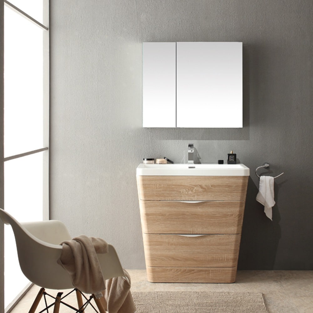 Fresca Milano 32-inch White Oak Modern Bathroom Vanity with Medicine ...
