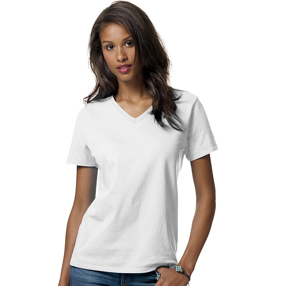 0dc5a819 Shop Hanes womens 5.2 oz. ComfortSoft® V-Neck Cotton T-Shirt (5780) - Free  Shipping On Orders Over $45 - Overstock - 10020022