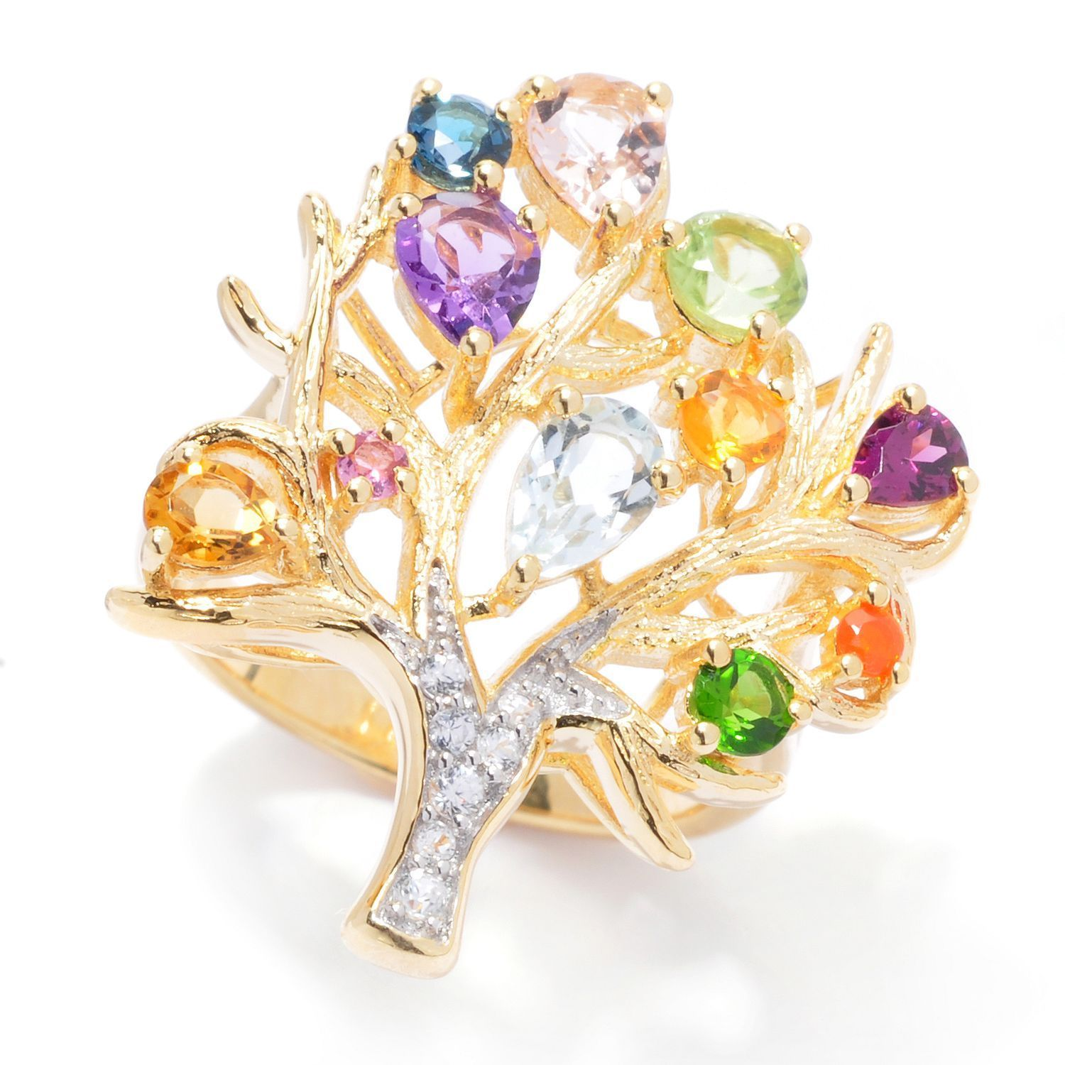 Shop 2.21ctw Multi Gemstone Tree of Life Ring - On Sale - Free ...