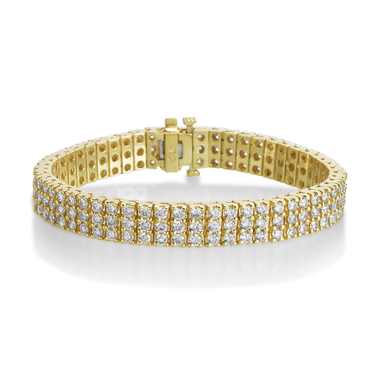 198b90f1118fb SummerRose 14k Yellow Gold 10ct 3-row Diamond Tennis Bracelet