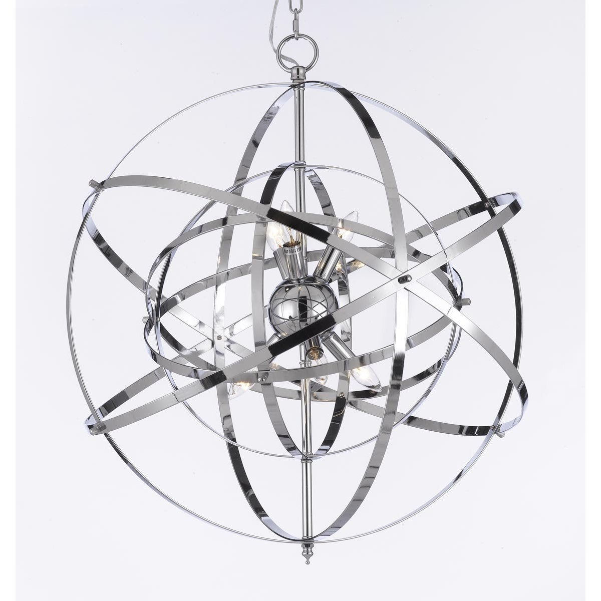 Shop Foucault\'s Orb Chrome Chandelier Light Fixture - Free Shipping ...
