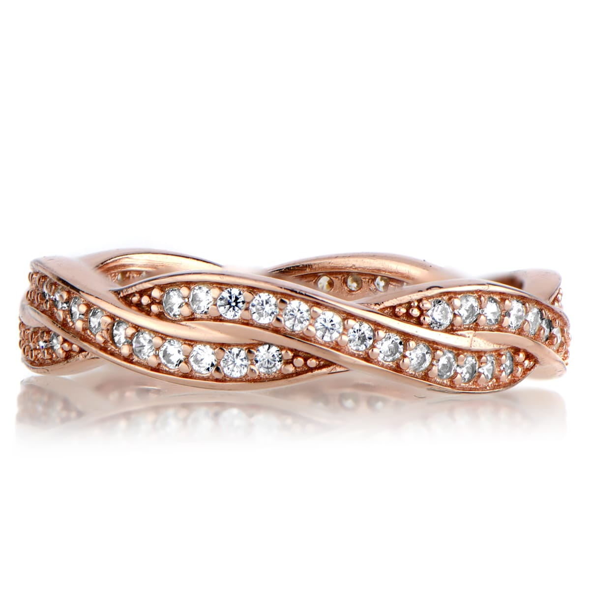 f0c1871e619 Shop Rose Goldtone Sterling Silver Twisted Cubic Zirconia Wedding Band -  Free Shipping On Orders Over  45 - Overstock.com - 10029930