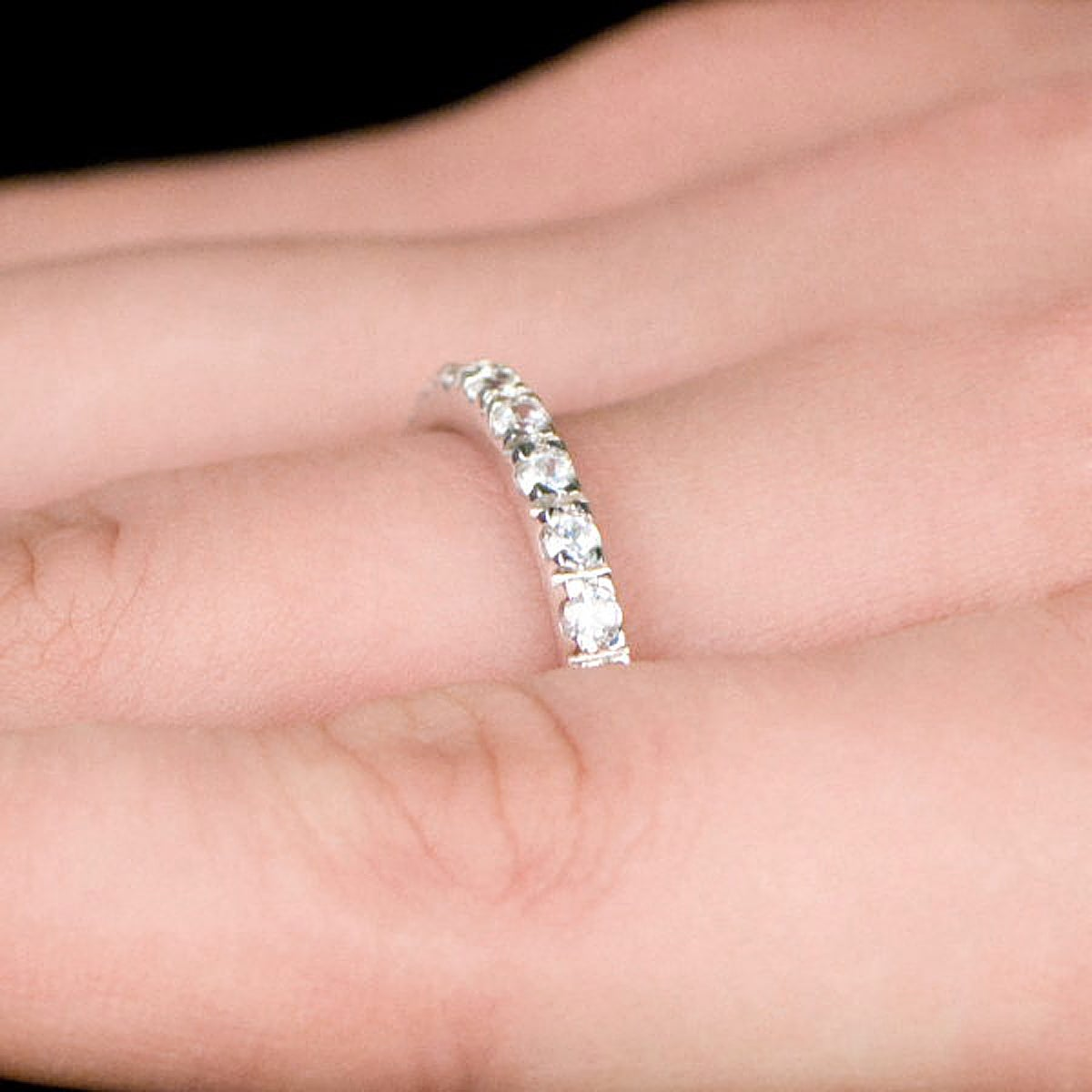 Sterling Silver Thin Stackable Cubic Zirconia Eternity Ring - Free ...