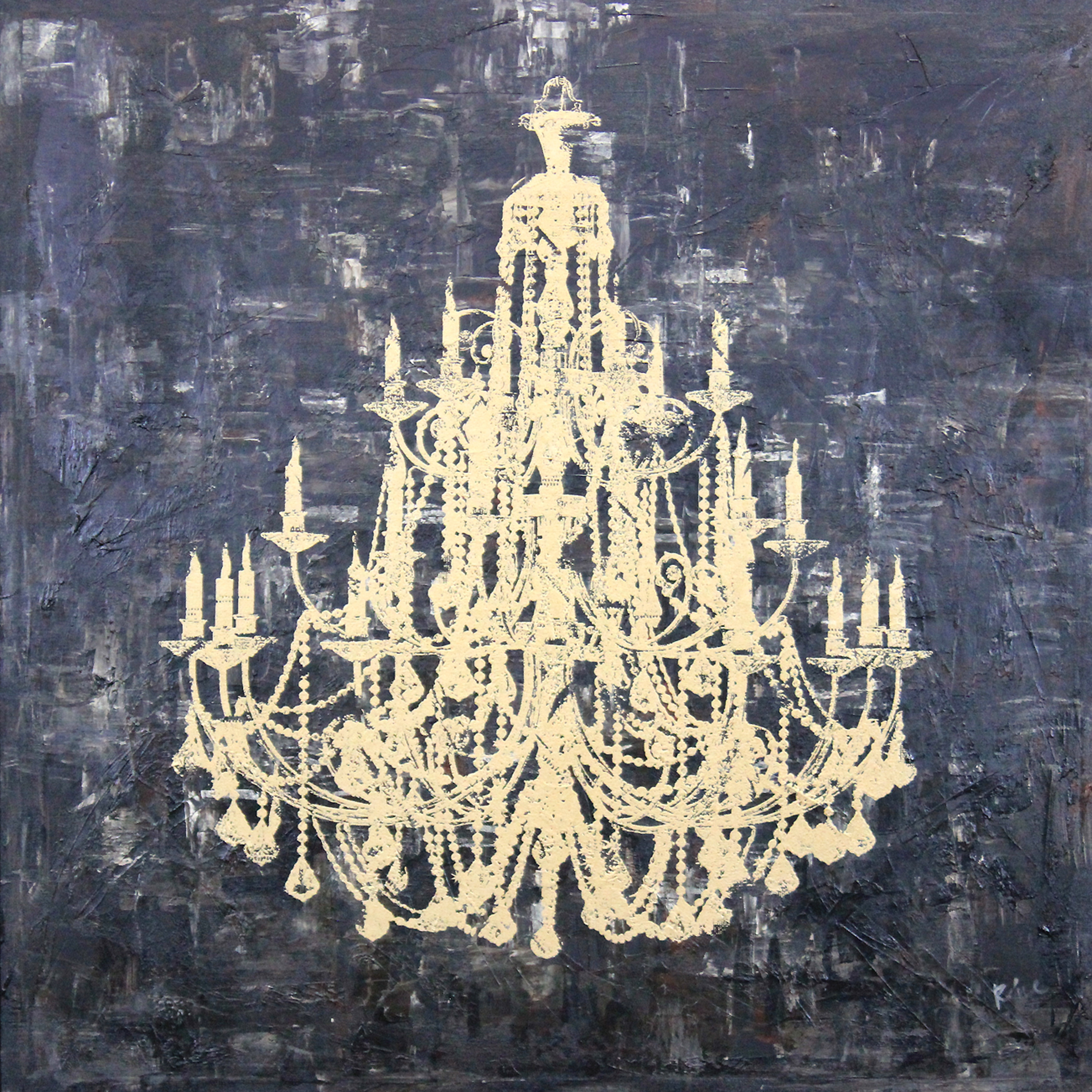 Art in Style Gold Chandelier Hand Painted on Canvas Wall Art