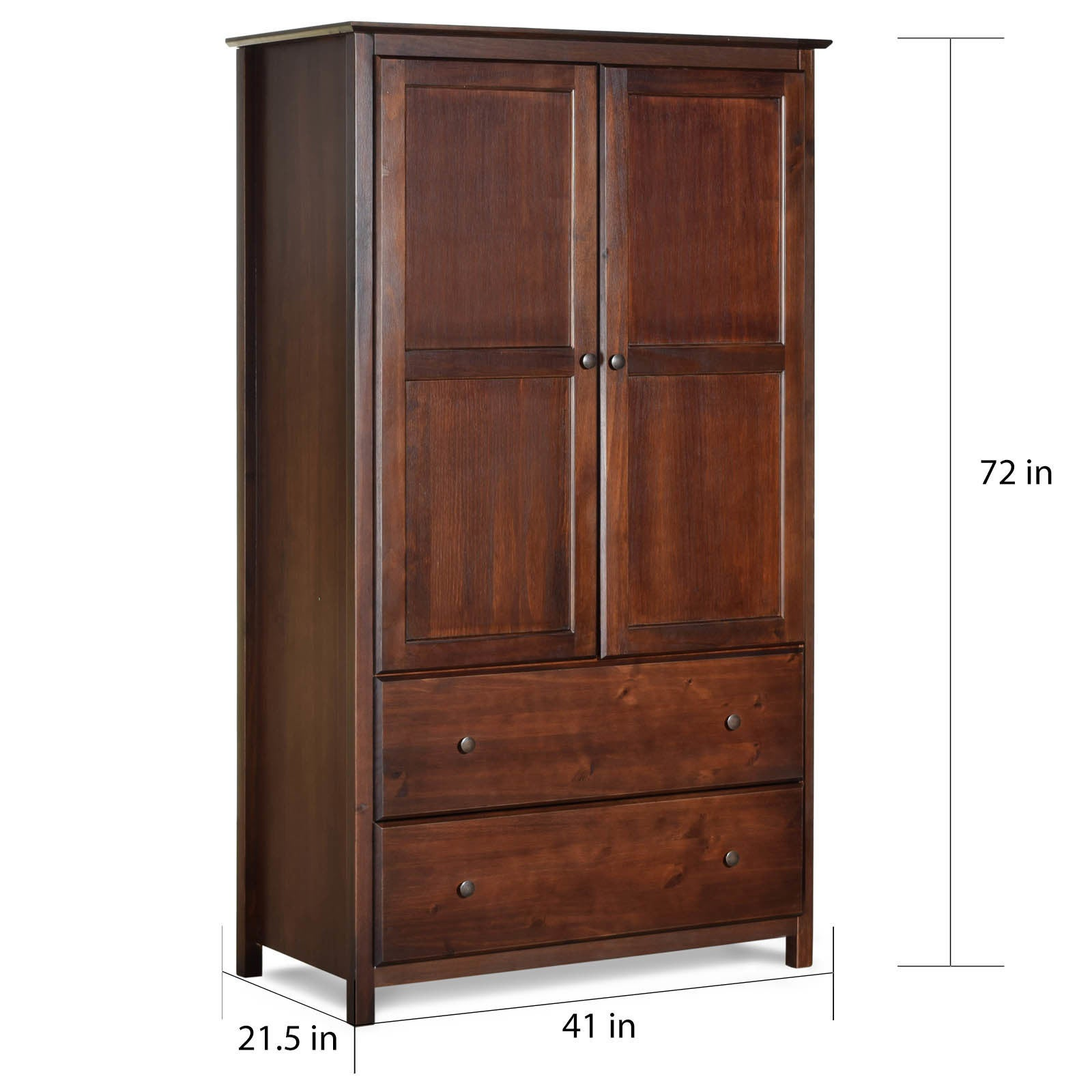 Exceptionnel Shop Grain Wood Furniture Shaker 2 Door Solid Wood Armoire Cherry Finish    41x72x22   Free Shipping Today   Overstock.com   10034535