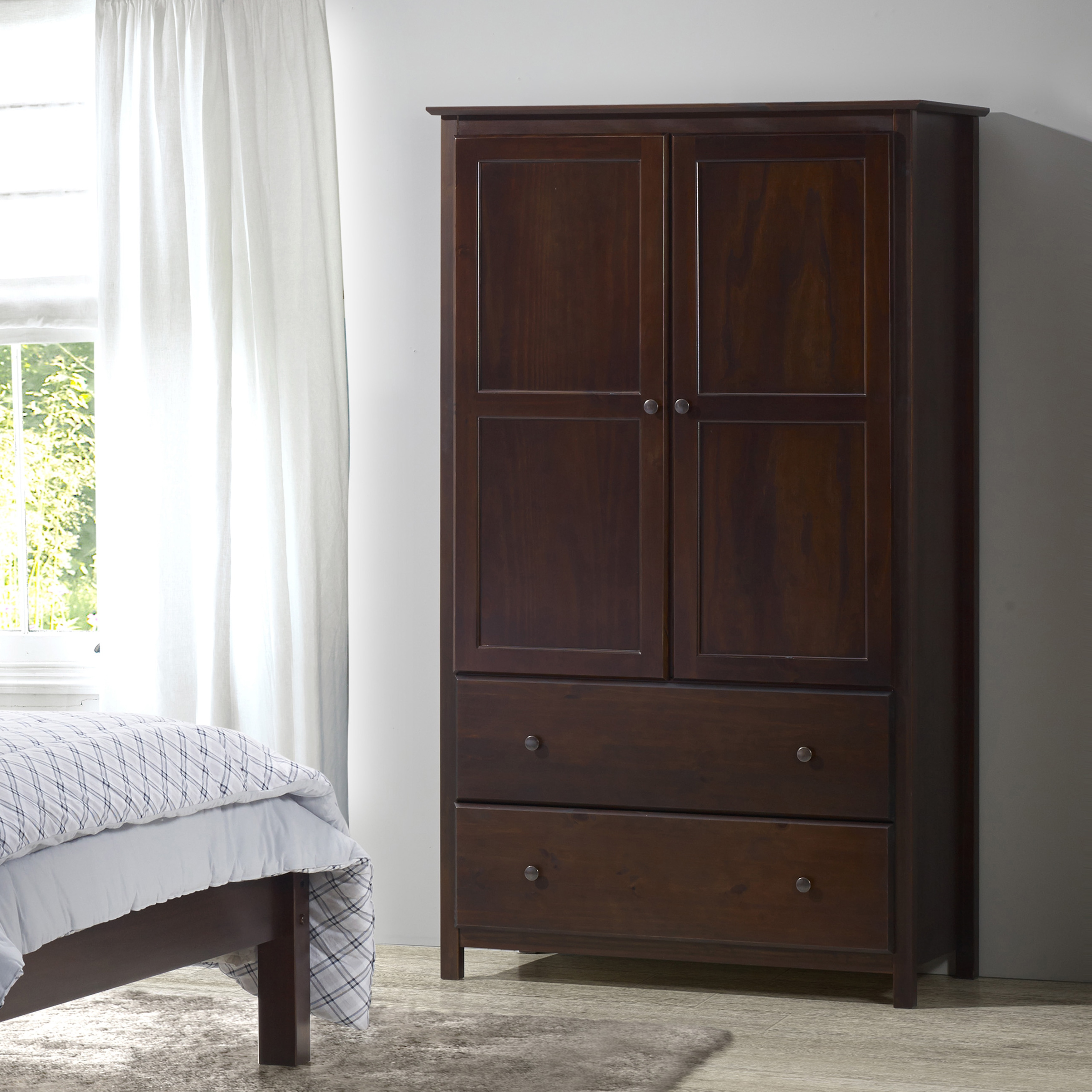 Grain Wood Furniture Shaker 2 Door Solid Armoire Cherry Finish 41x72x22 Free Shipping Today 10034535