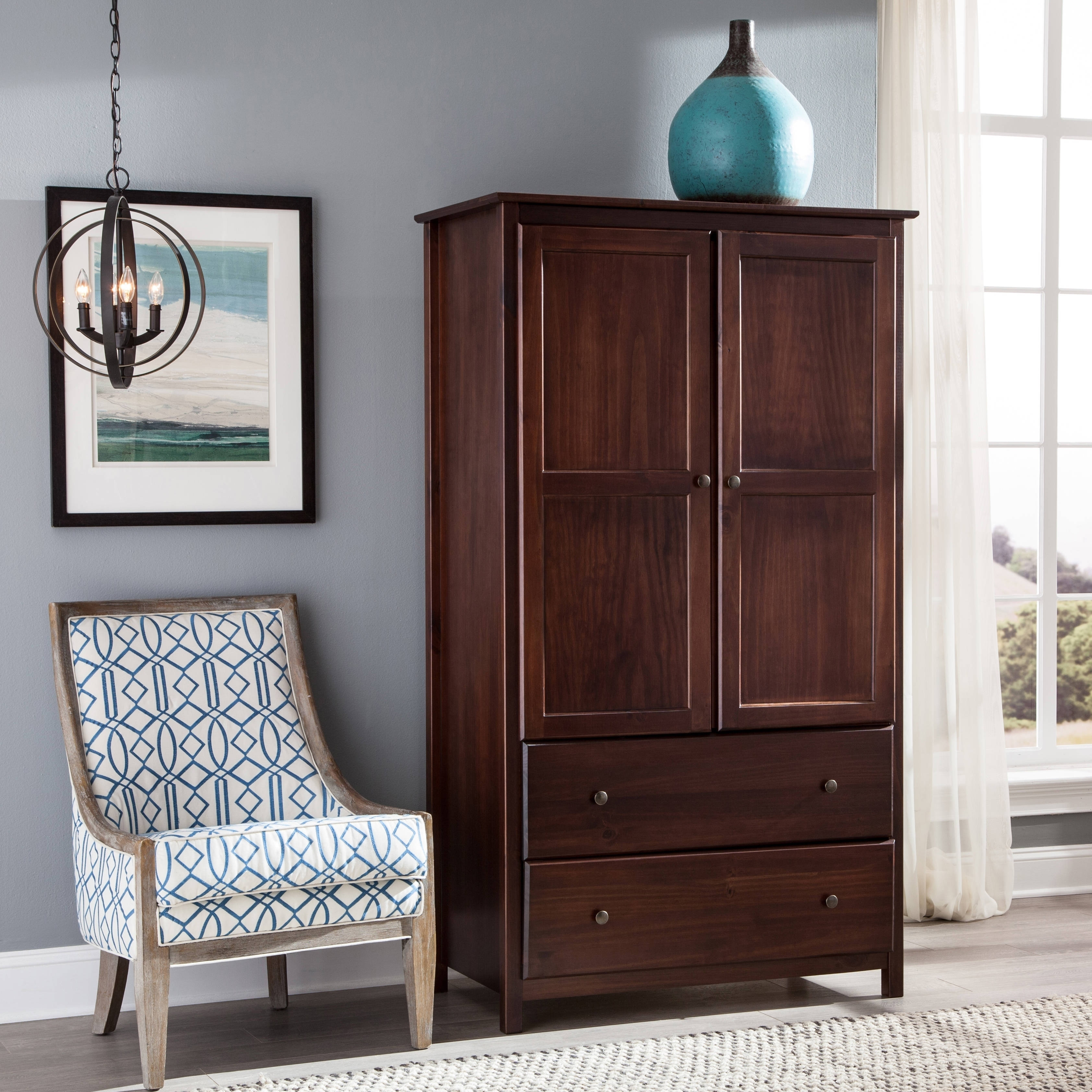 Grain Wood Furniture Shaker 2-door Solid Wood Armoire Cherry Finish - Free Shipping Today - Overstock.com - 17180213 & Grain Wood Furniture Shaker 2-door Solid Wood Armoire Cherry Finish ...