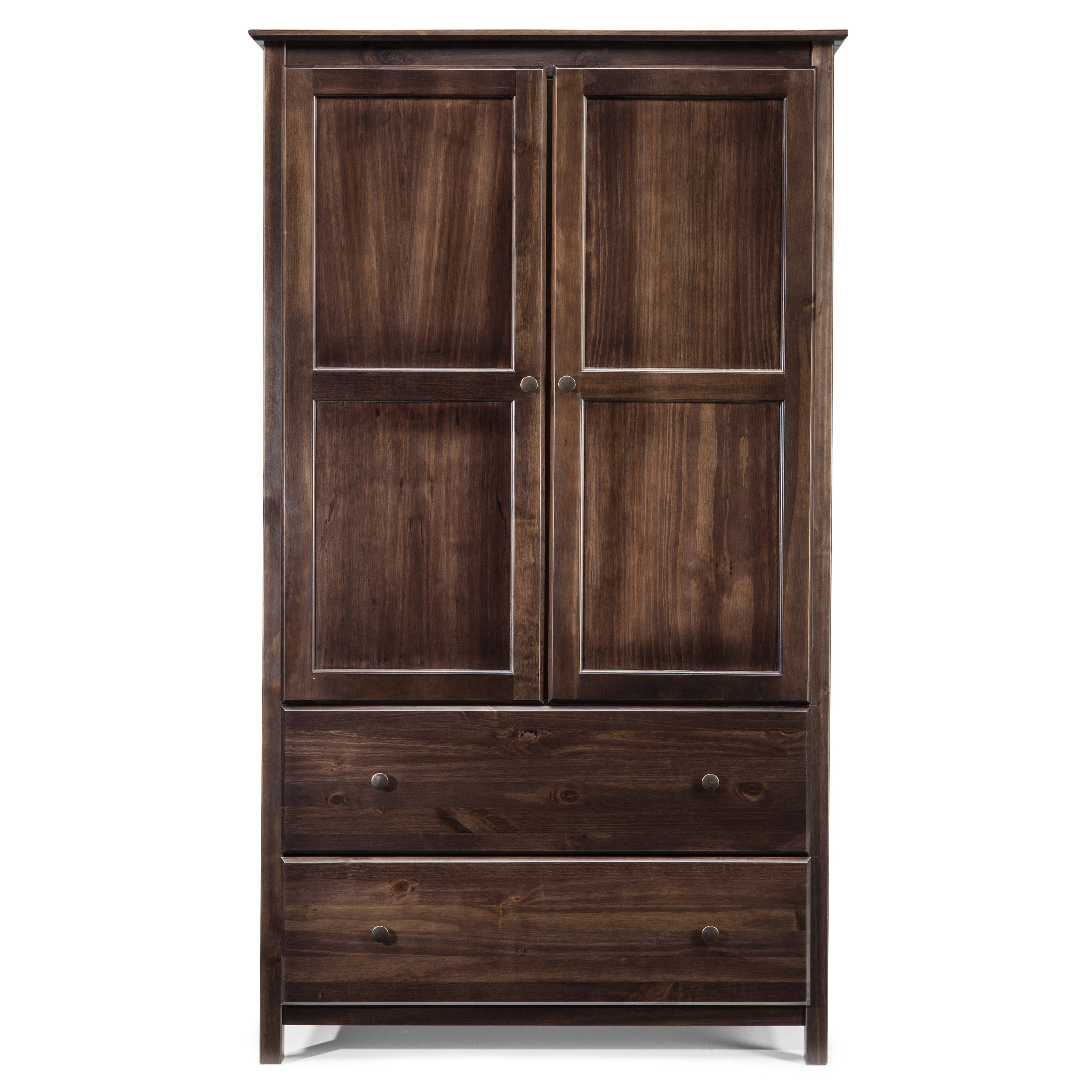 Grain Wood Furniture Shaker 2 Door Solid Wood Armoire Espresso Finish    Free Shipping Today   Overstock.com   17180214