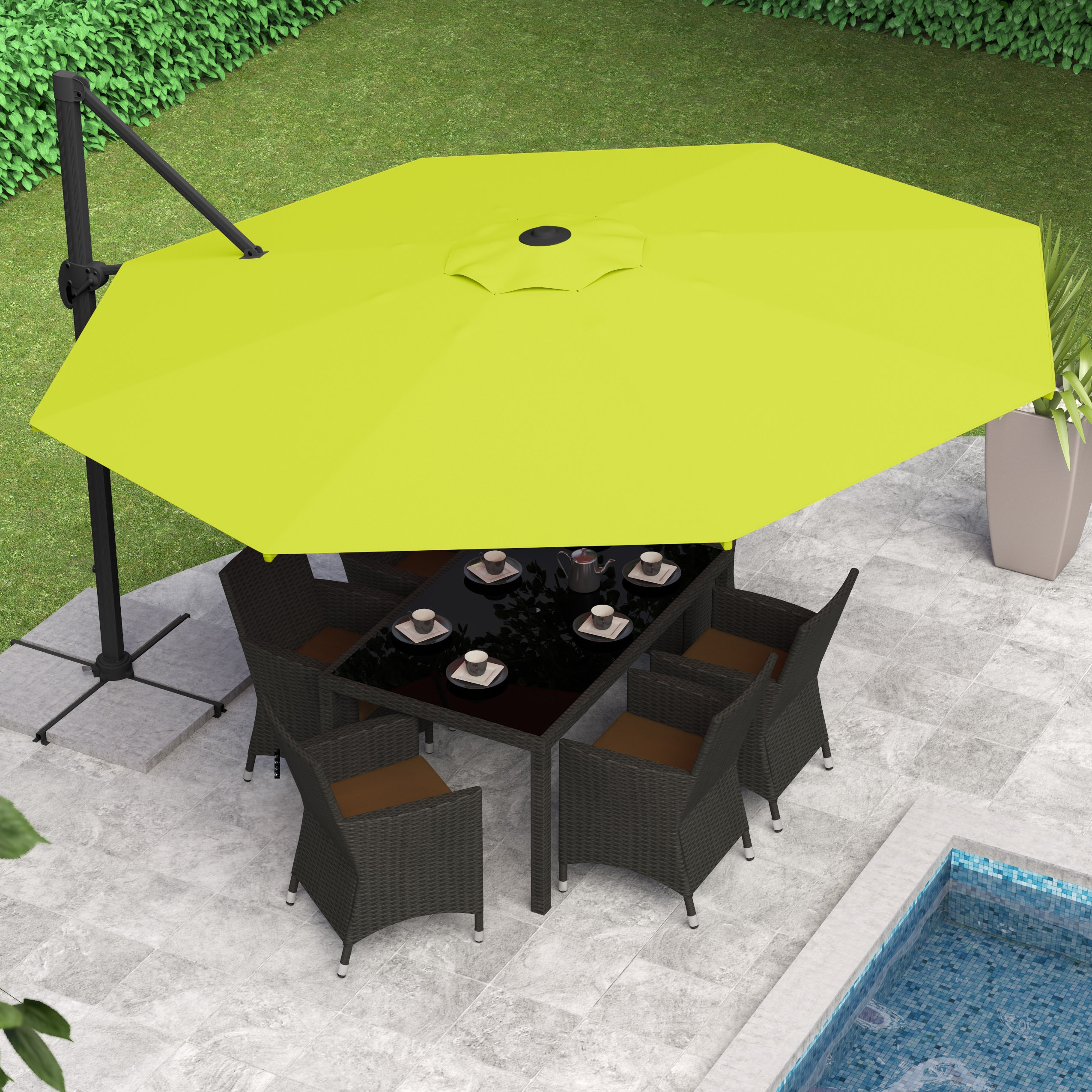 Shop CorLiving Deluxe Offset Patio Umbrella   Free Shipping Today    Overstock.com   10035572