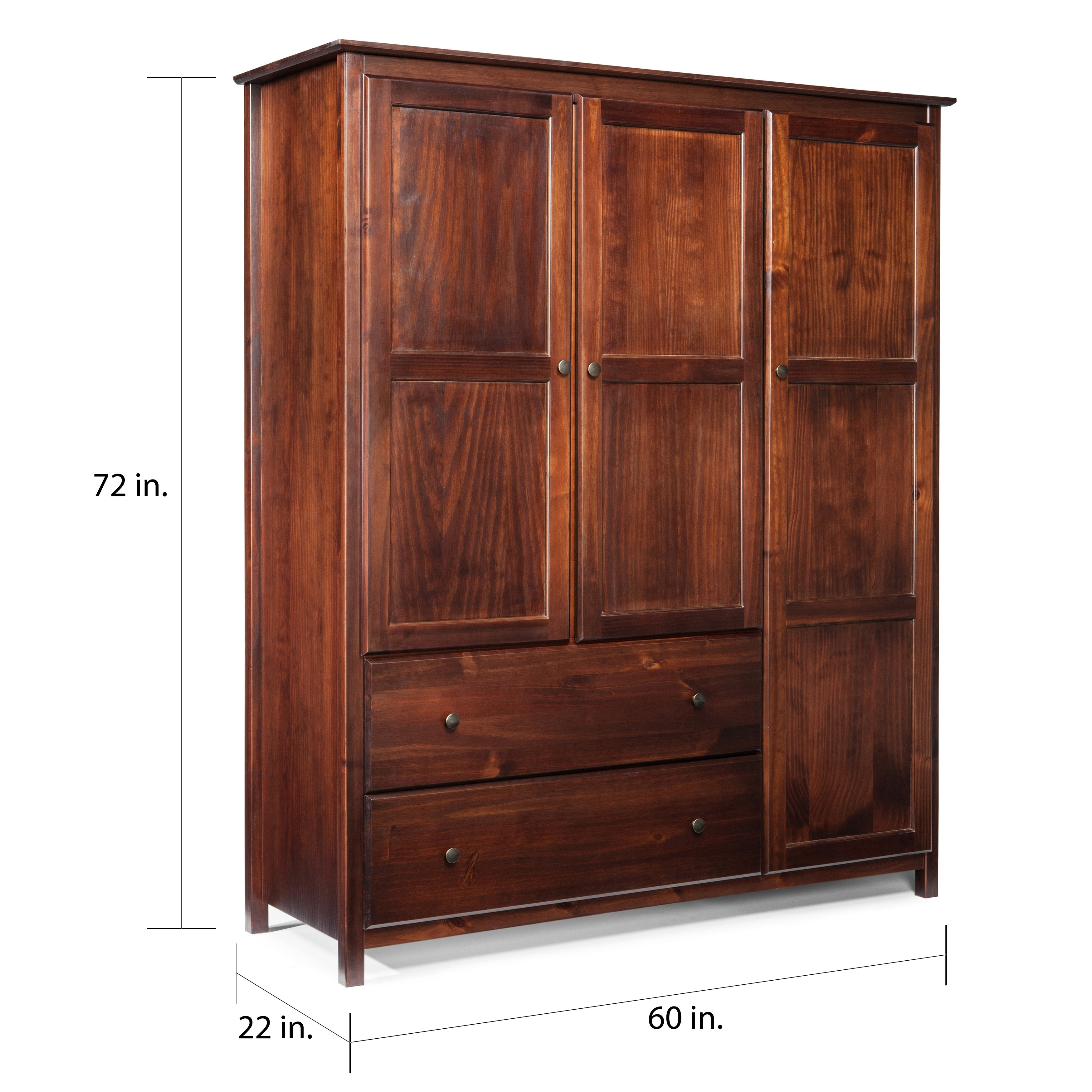 Shop grain wood furniture shaker 3 door solid wood armoire cherry finish free shipping today overstock com 10036236
