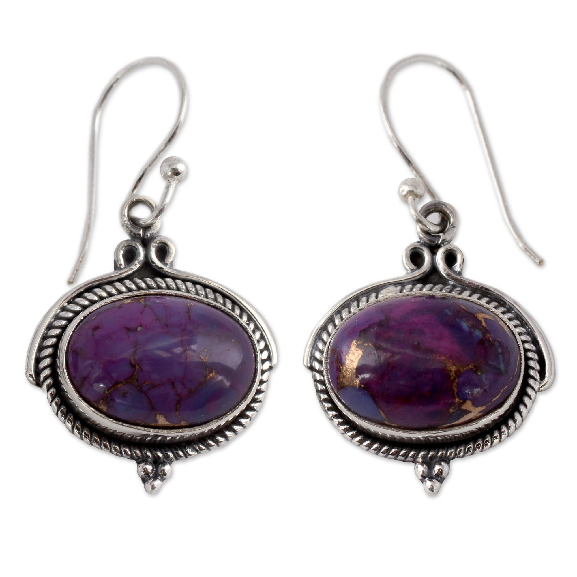 Handmade Sterling Silver Royal Purple Turquoise Earrings India Free Shipping On Orders Over 45 10038002