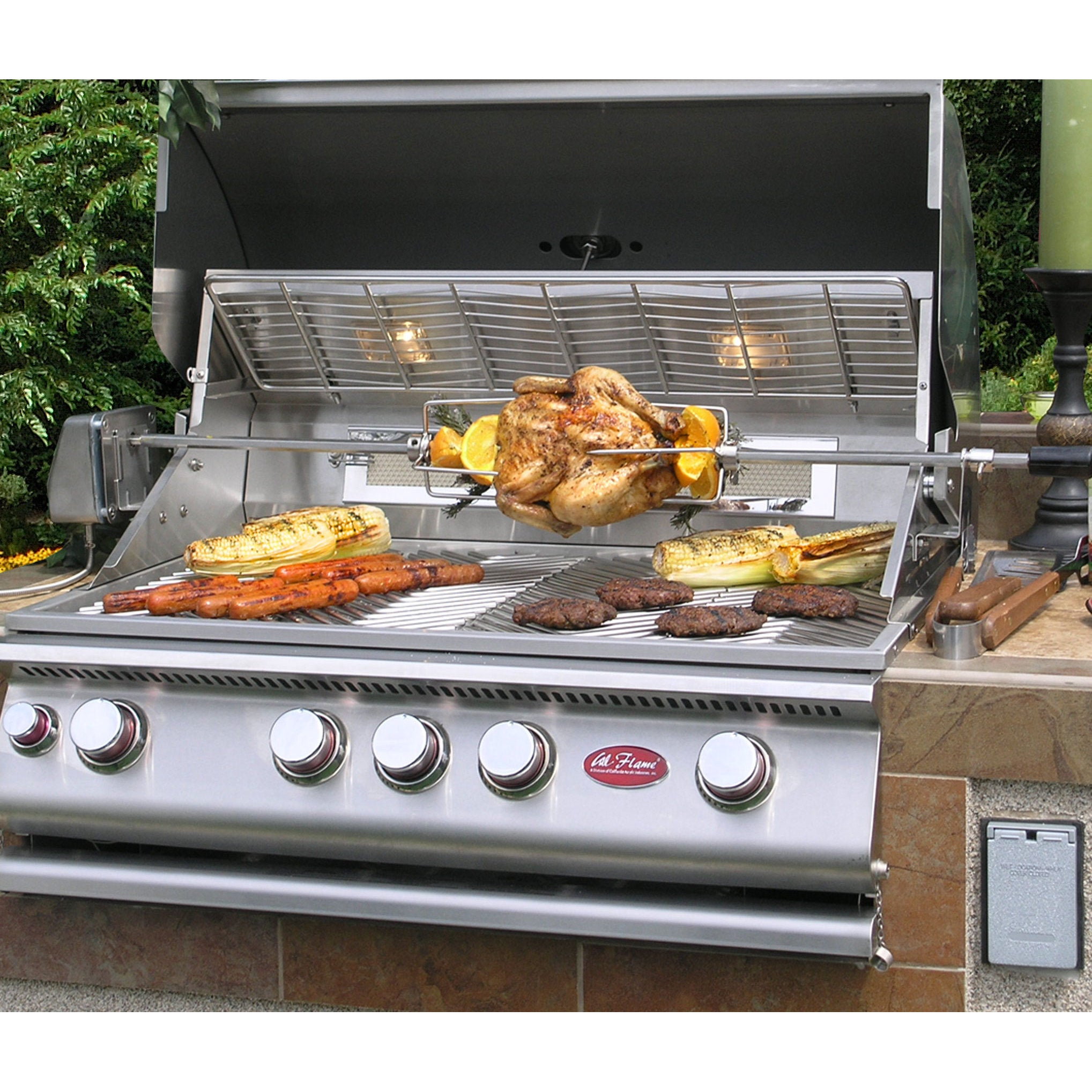 Cal Flame Outdoor Kitchen 4 Burner Barbecue Grill Island With Refrigerator    Free Shipping Today   Overstock.com   17184152