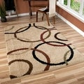 Carolina Weavers Comfy and Cozy Riveting Shag Collection Rotating Rings Beige Shag Area Rug (7'10 x 10'10)