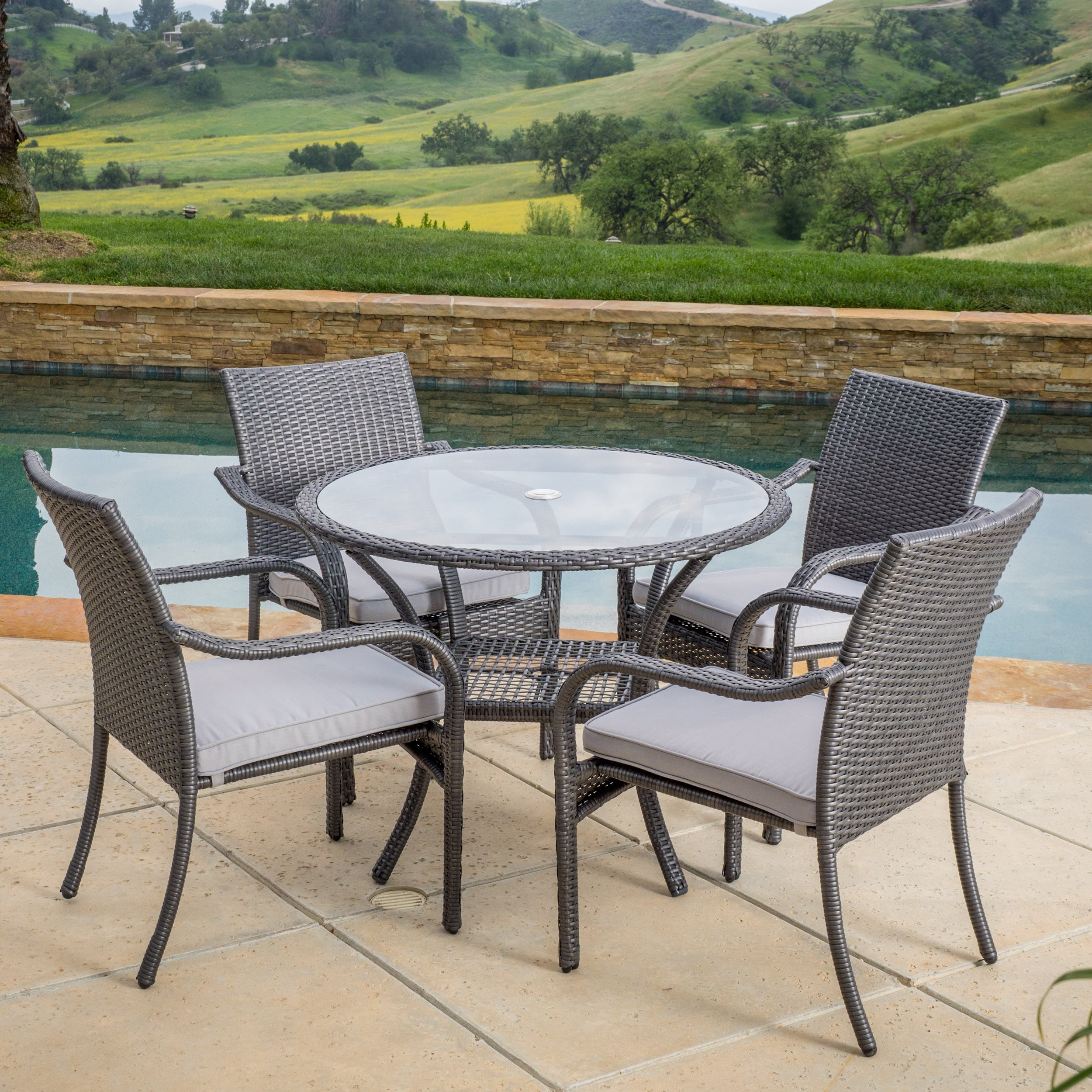 Shop San Pico Outdoor Wicker 5 Piece Dining Set With Cushions By  Christopher Knight Home   On Sale   Free Shipping Today   Overstock.com    10039897