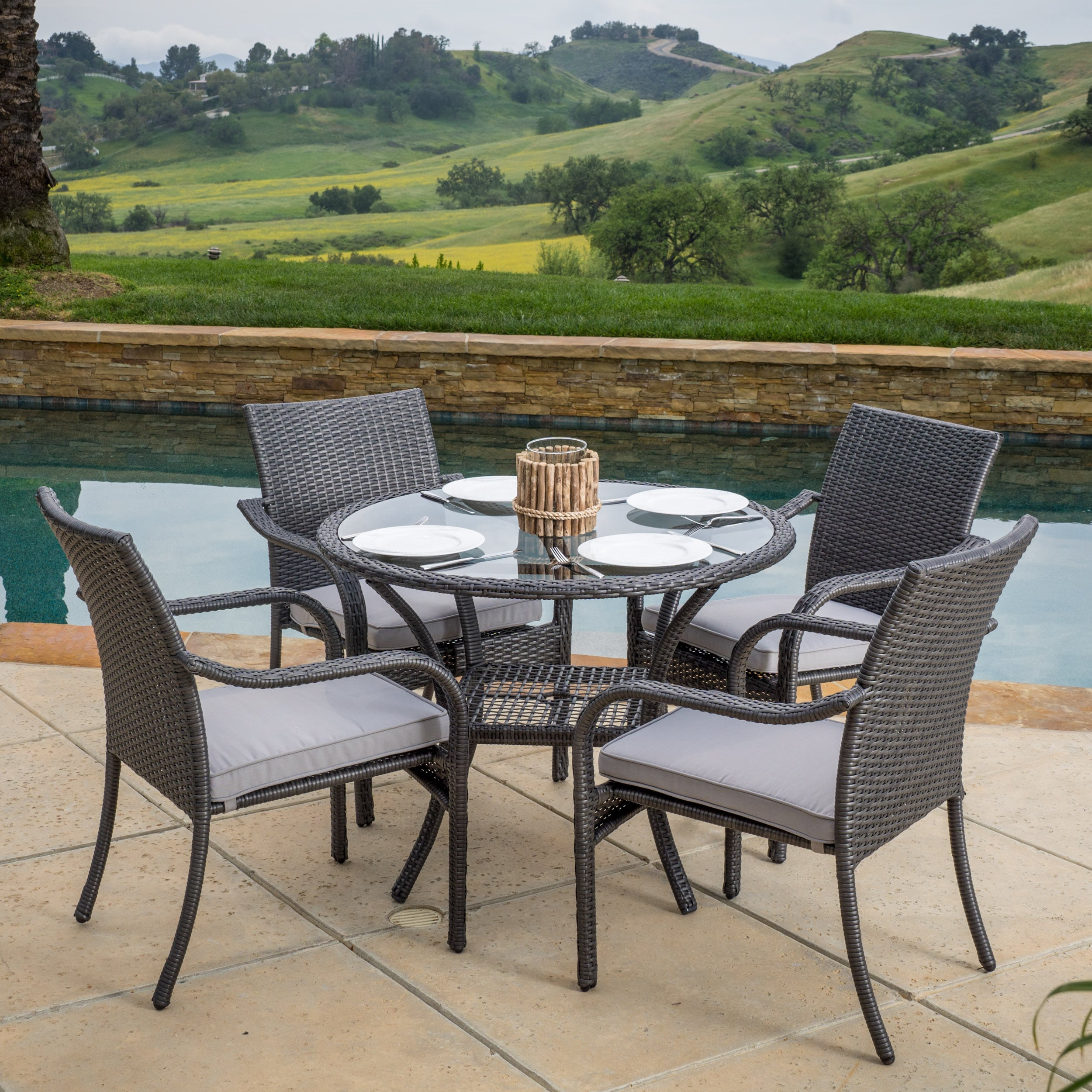 shop san pico outdoor wicker 5 piece dining set with cushions by