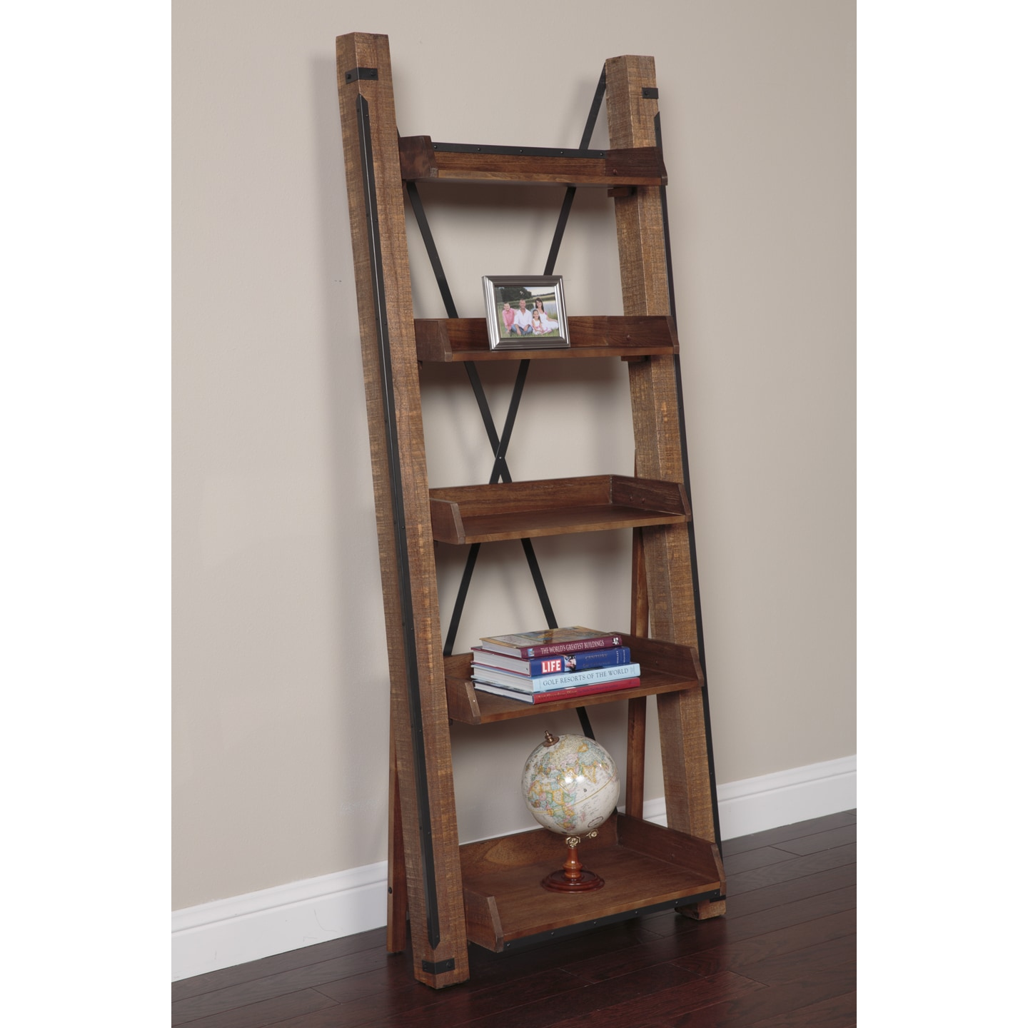 Super Industrial Wood and Iron Open Shelf Ladder Bookcase - Free  DF61