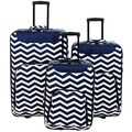 World Traveler Vogue 3-piece Chevron Rolling Upright Luggage Set