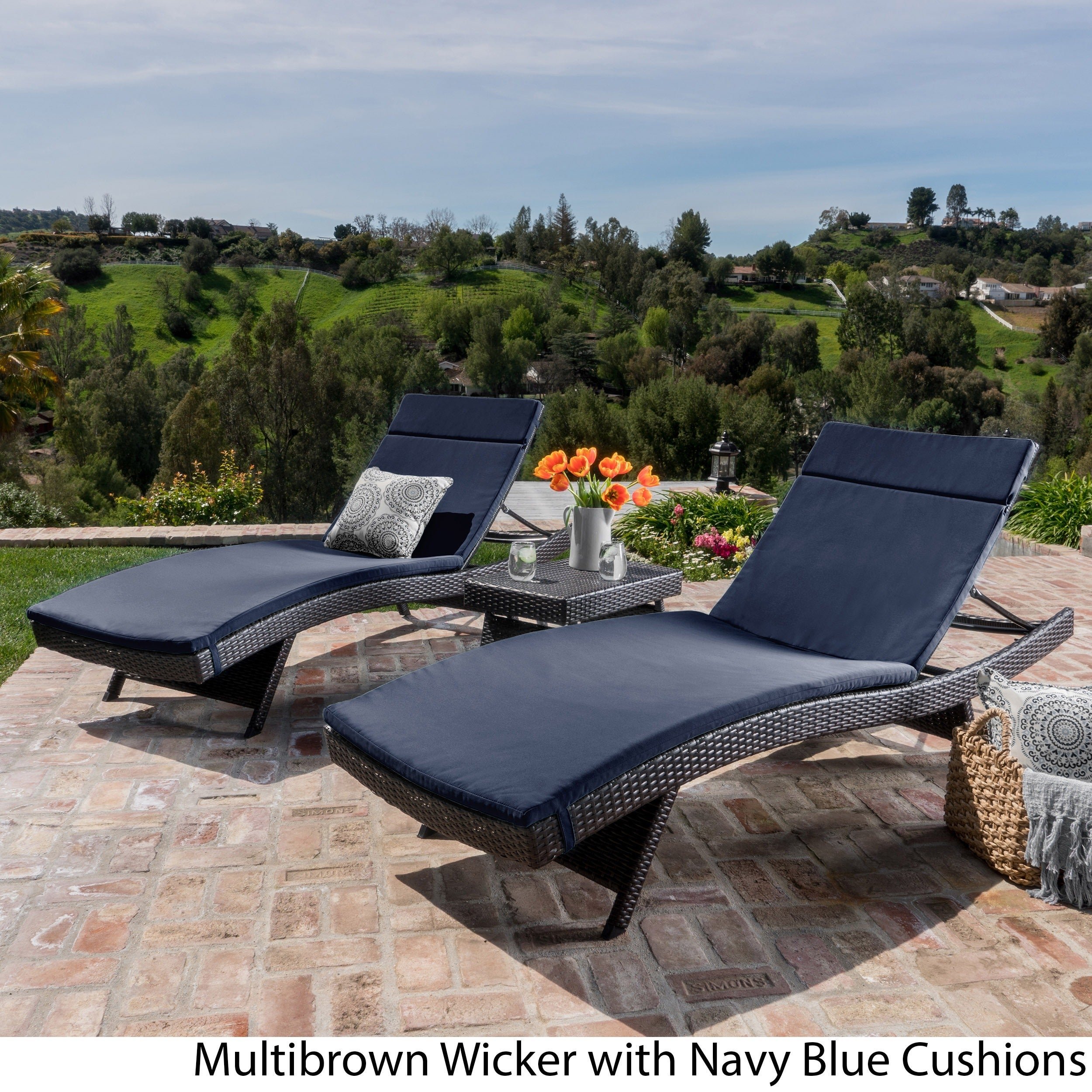 Luana Outdoor 3 piece Wicker Adjustable Chaise Lounge Set with