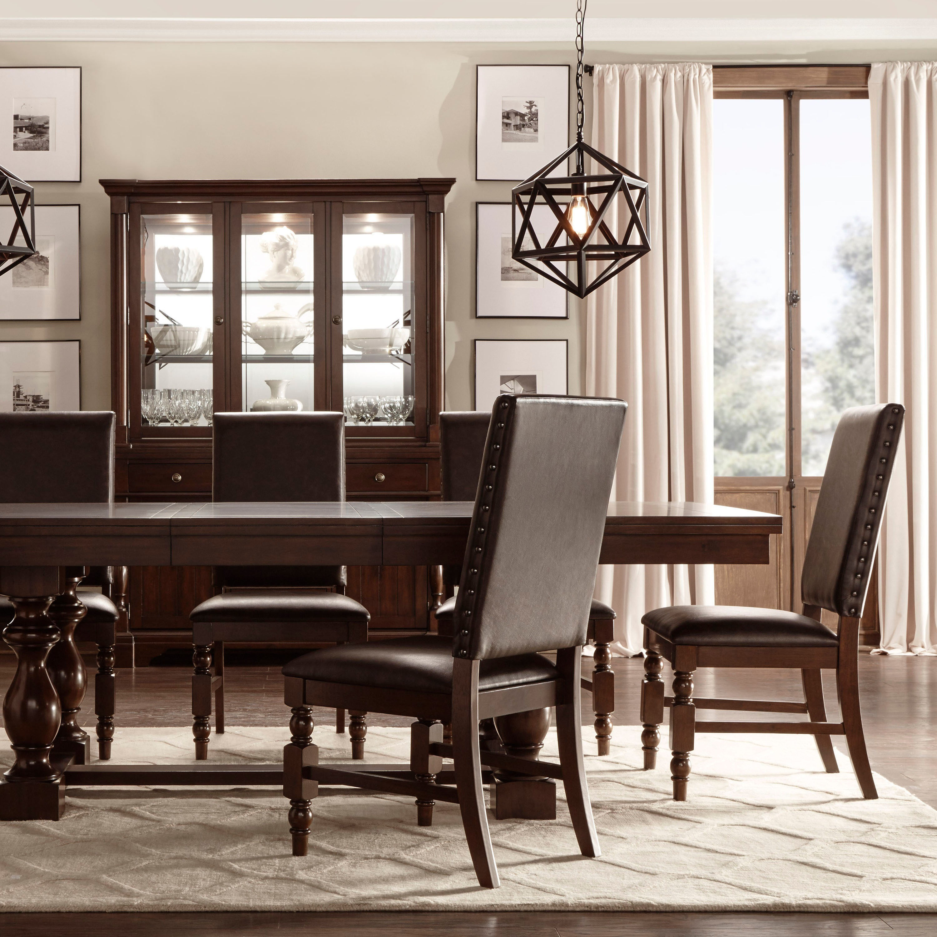 Flatiron Nailhead Upholstered Dining Chairs Set of 2 by iNSPIRE Q