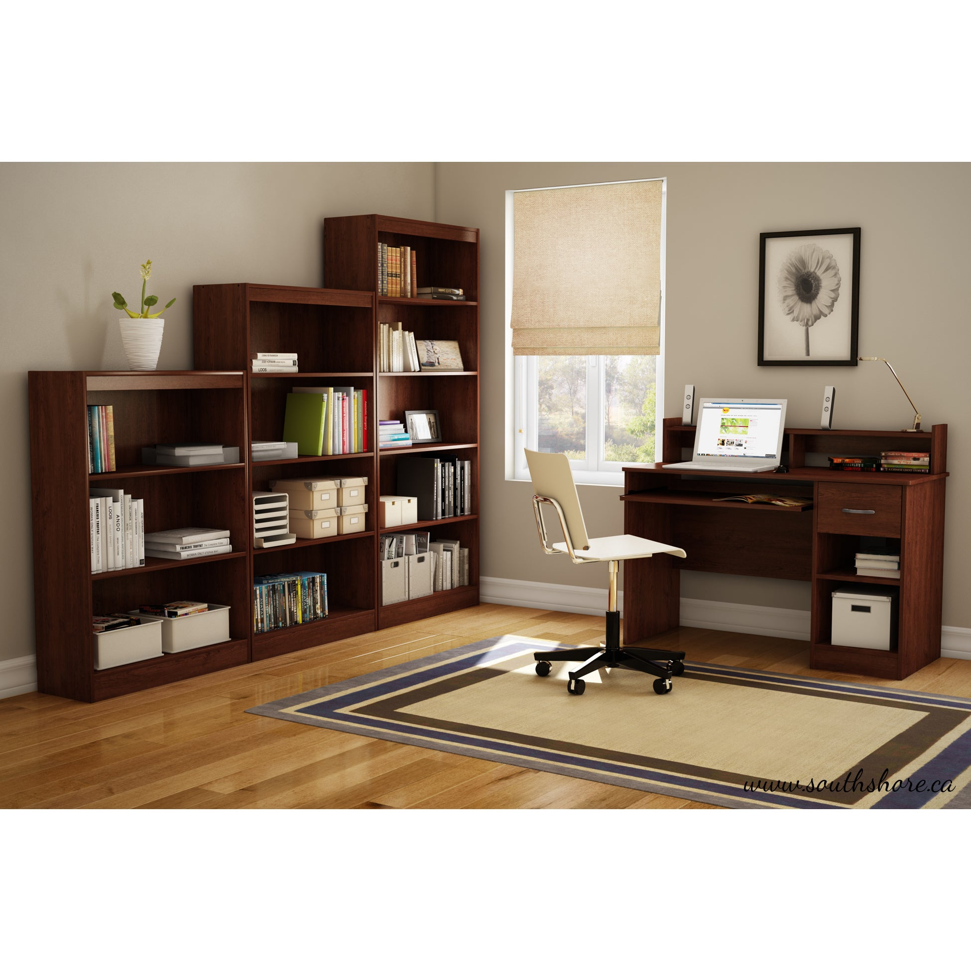 South Shore Axess 3 Shelf Bookcase, Royal Cherry   Free Shipping Today    Overstock.com   17190446
