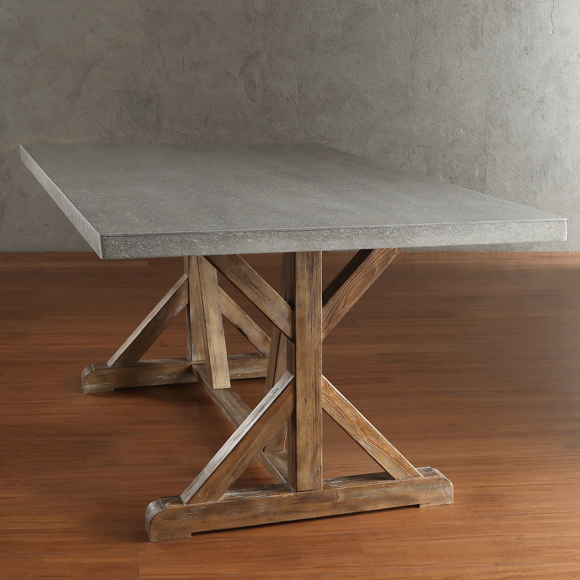 Benchwright Rustic Pine Concrete Accent Trestle Reinforced Dining Table by  iNSPIRE Q Artisan - Free Shipping Today - Overstock.com - 17190629