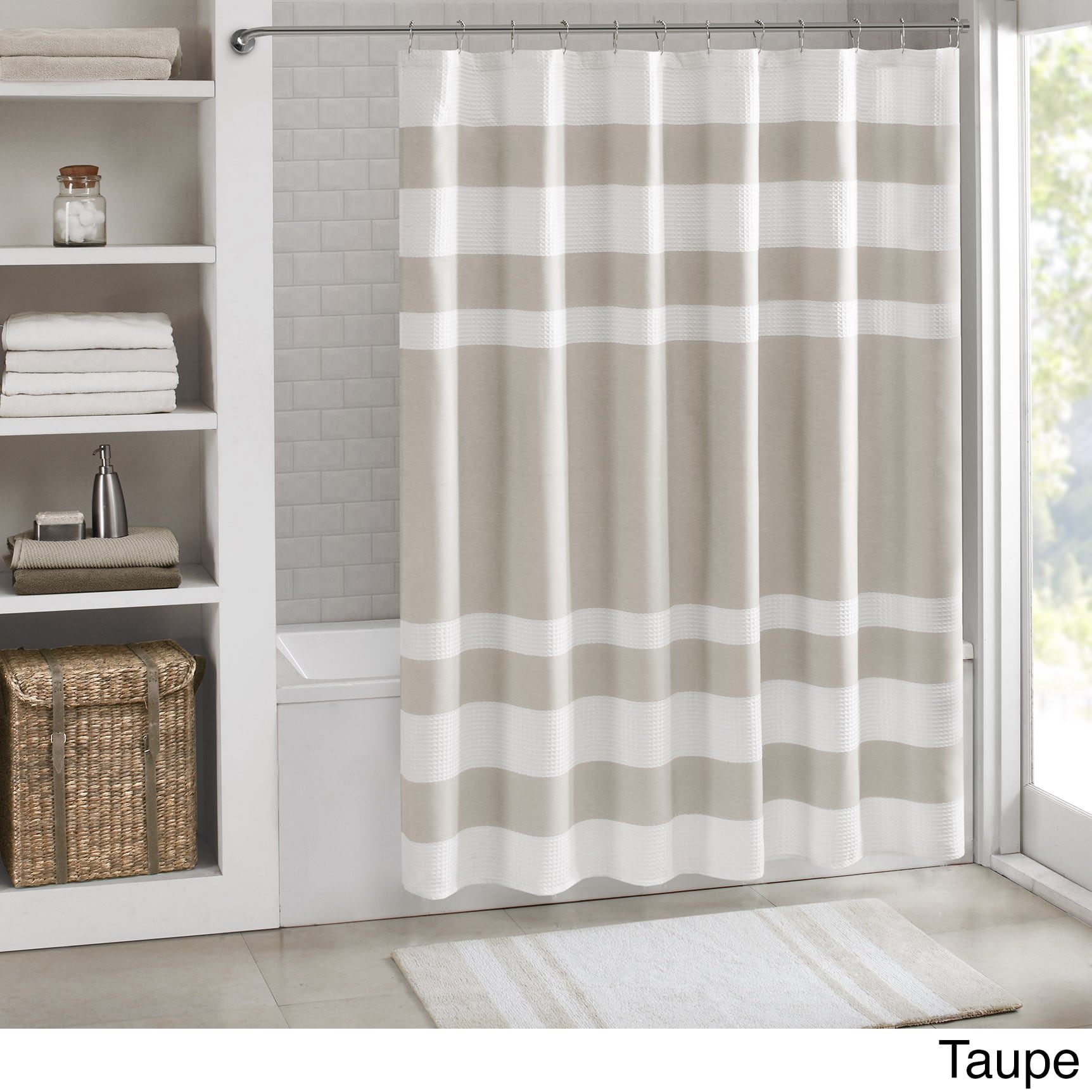 taupe shower at com polyester solid stone curtains shop curtain pd lowes hookless