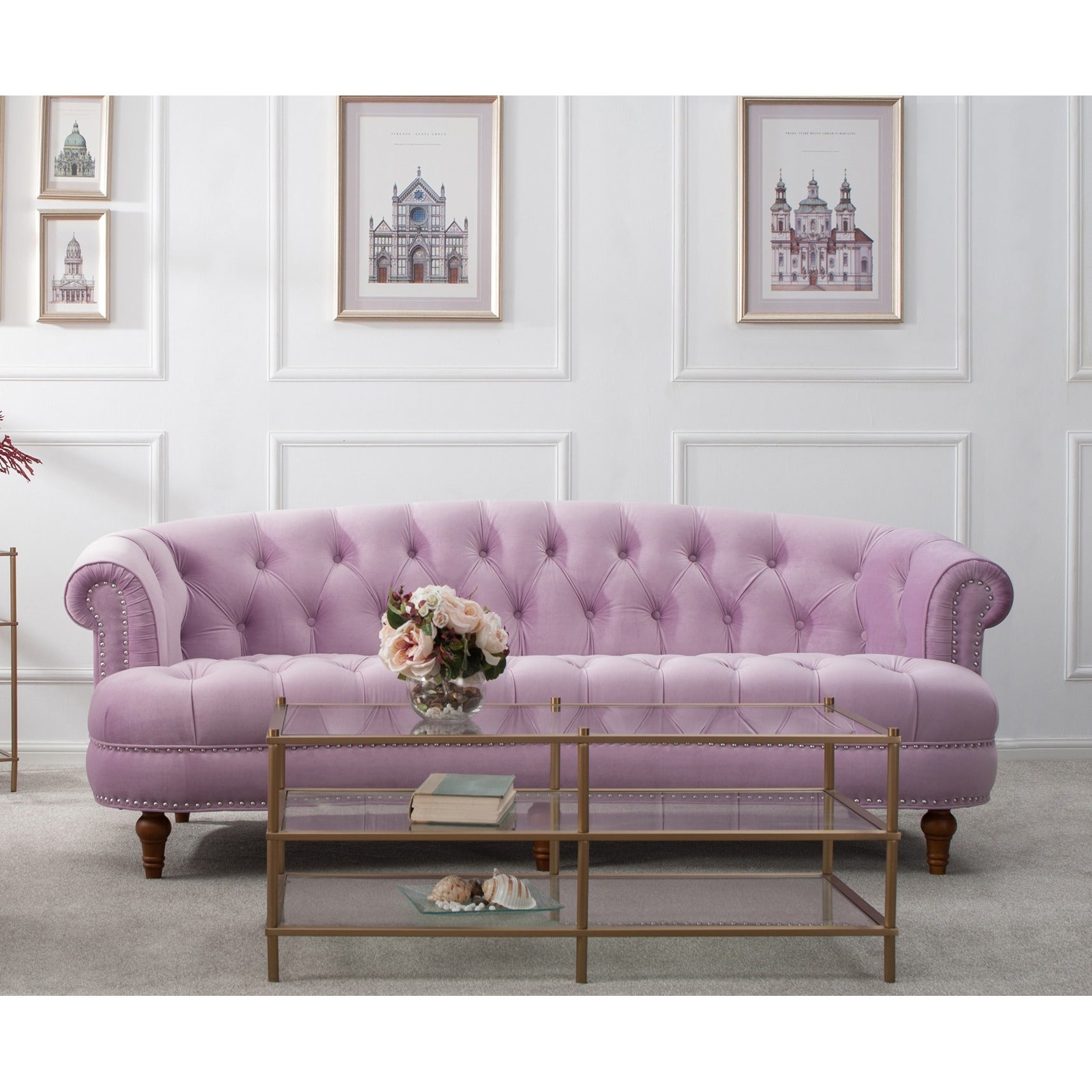 Lovely Jennifer Taylor La Rosa Chesterfield Sofa   Free Shipping Today   Overstock    17191171