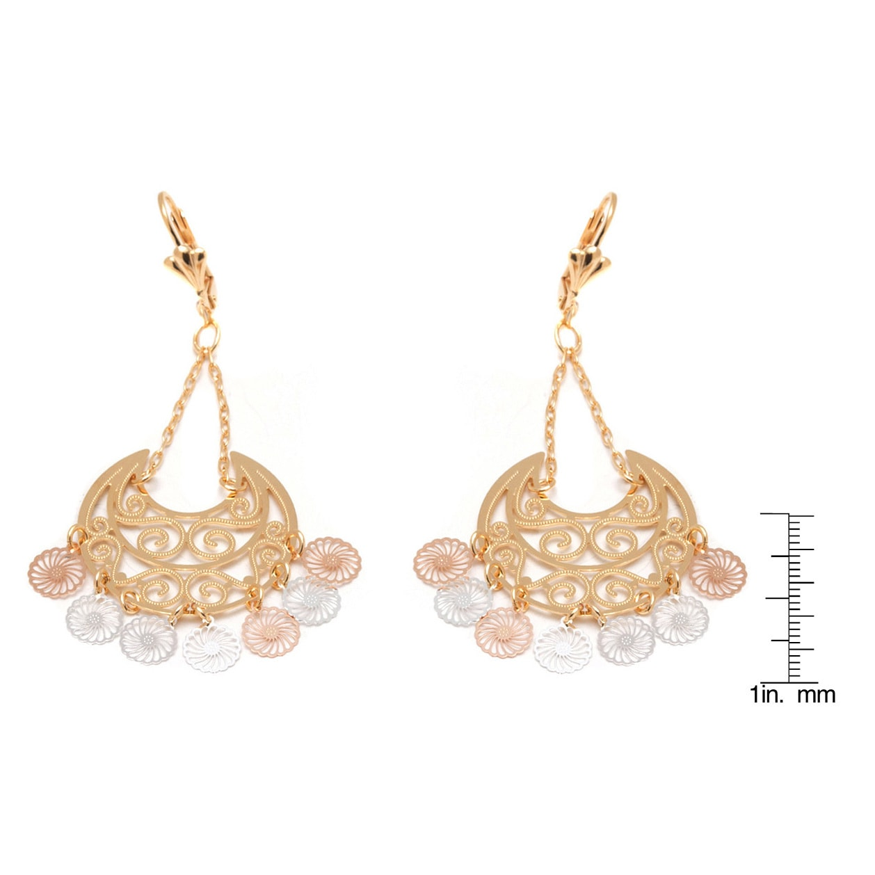 Goldplated 3 tone filigree cut out chandelier earrings free goldplated 3 tone filigree cut out chandelier earrings free shipping on orders over 45 overstock 17194602 arubaitofo Images