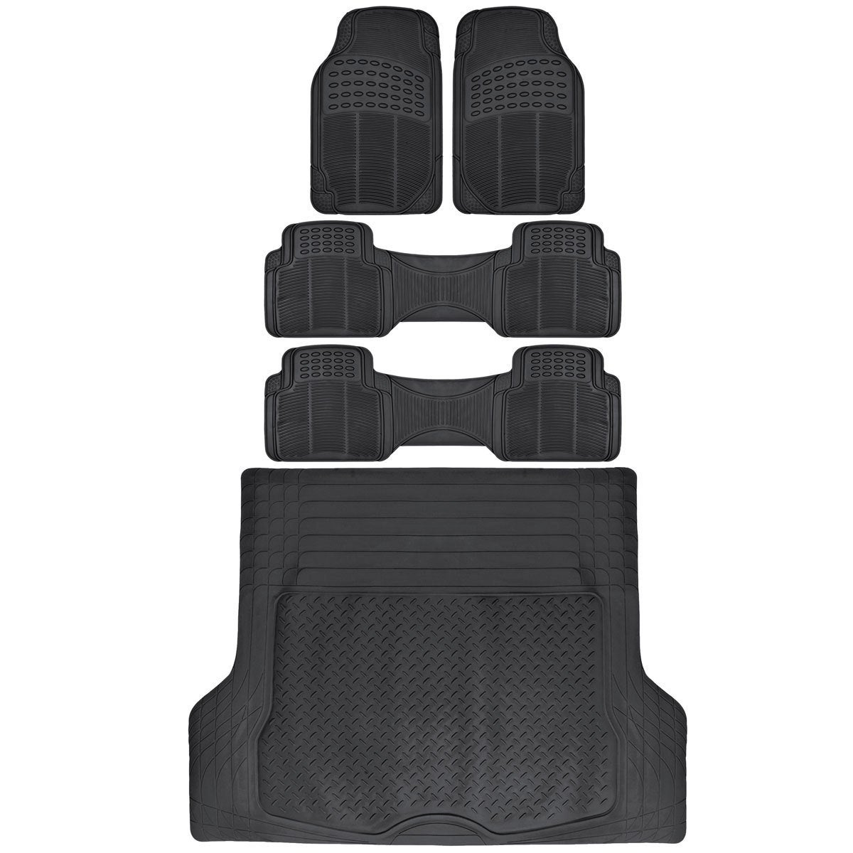 Bdk 3 Row Heavy Duty Trimmable Car Floor Mats For Suv Van With Cargo Liner 5 Pieces