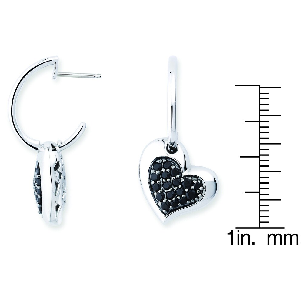 14e2ba8ae Shop Lotopia 925 Sterling Silver Black Love Heart Earrings featuring  Zirconia - On Sale - Free Shipping Today - Overstock - 10050276
