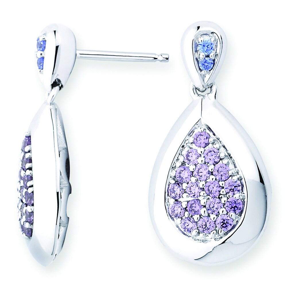 4f13dd742 Shop Lotopia 925 Sterling Silver Purple Swarovski elements Zirconia Love  Teardrop Earrings - Free Shipping Today - Overstock - 10050285