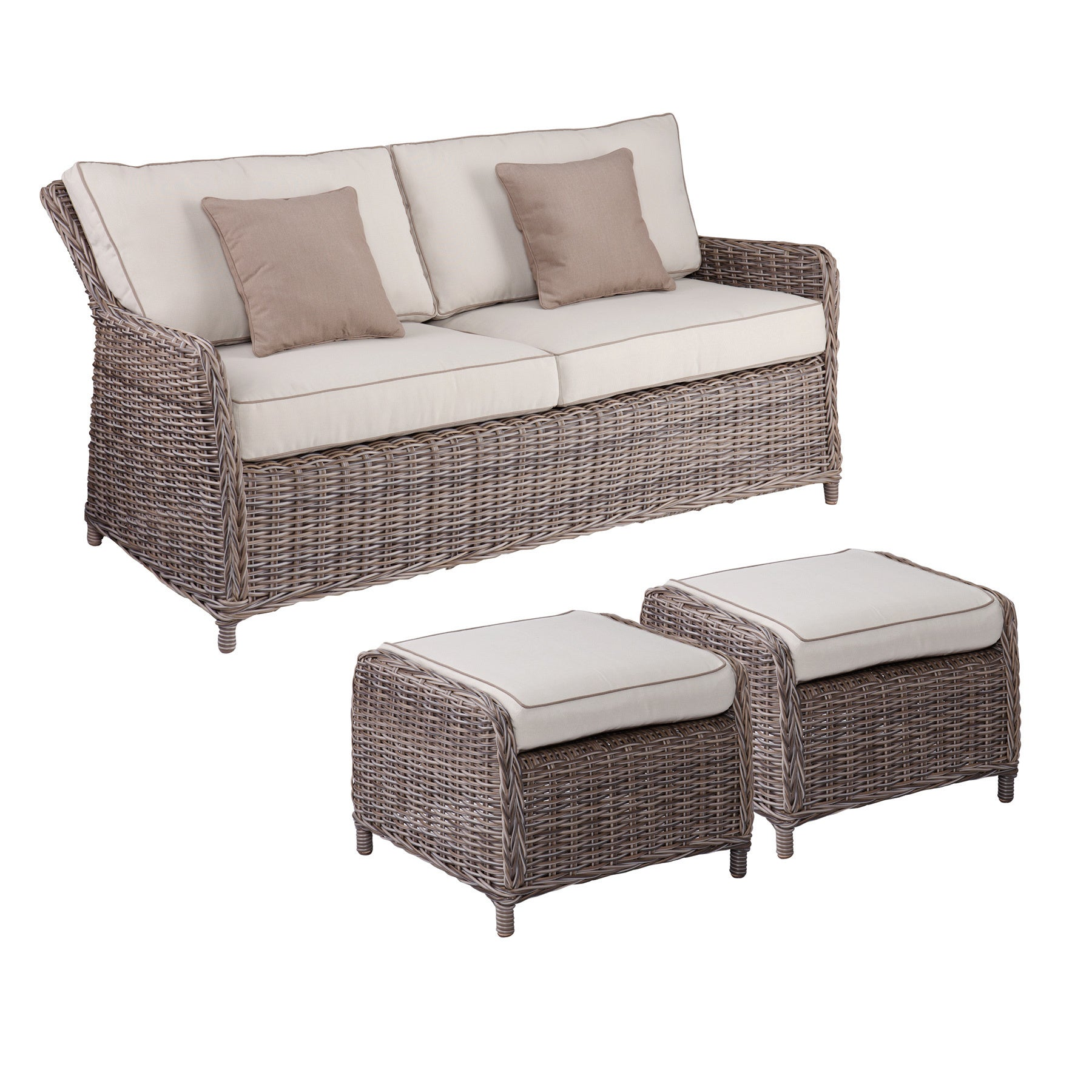 Shop Harper Blvd Imperial Outdoor 2. 5 Seater Sofa and Ottoman 3pc ...