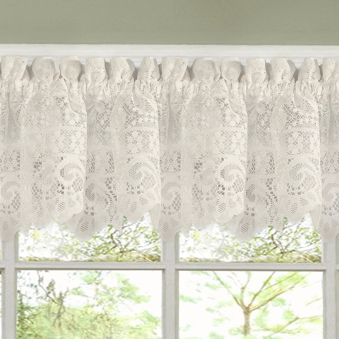 shop luxurious old world style lace kitchen curtains tiers and valances in cream on sale free shipping on orders over 45 overstockcom 10050988 - Kitchen Curtain