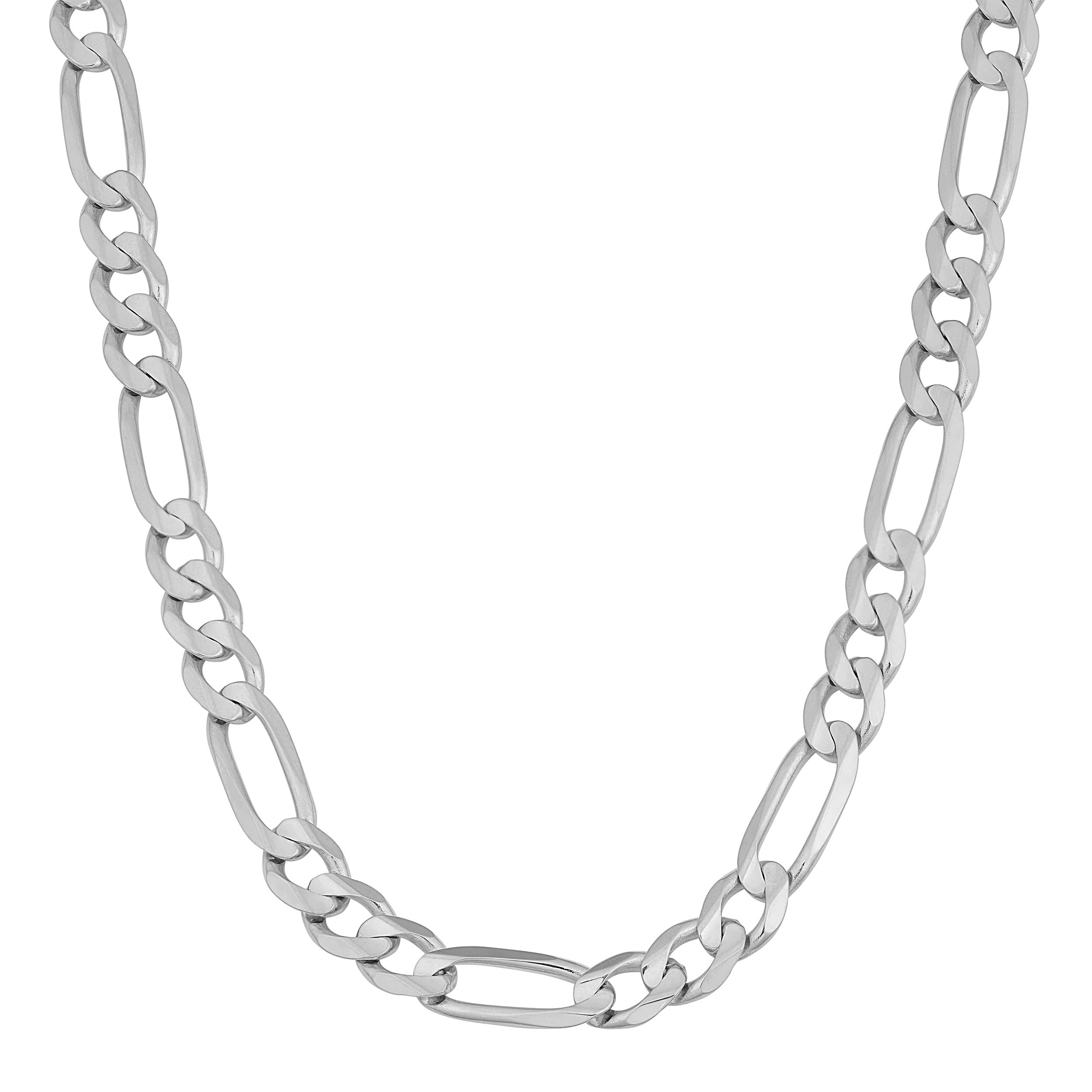 5110cae2bf1c Shop Fremada 14k White Gold 5.8-mm Figaro Link Chain Necklace (20 - 24  inches) - On Sale - Free Shipping Today - Overstock.com - 10051177