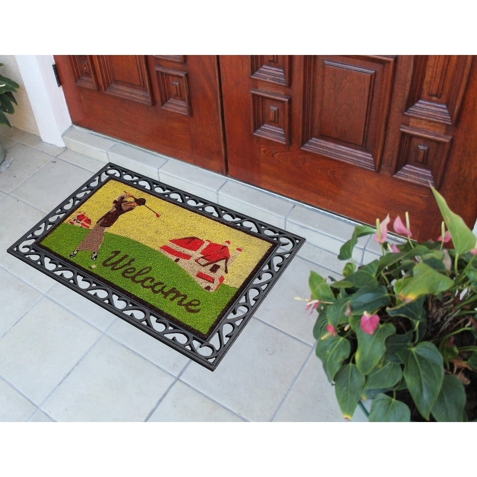 Shop First Impression Golf Coco Rubber Welcome Tray Mat (2u0027 X 3u0027)   Free  Shipping Today   Overstock   10051349