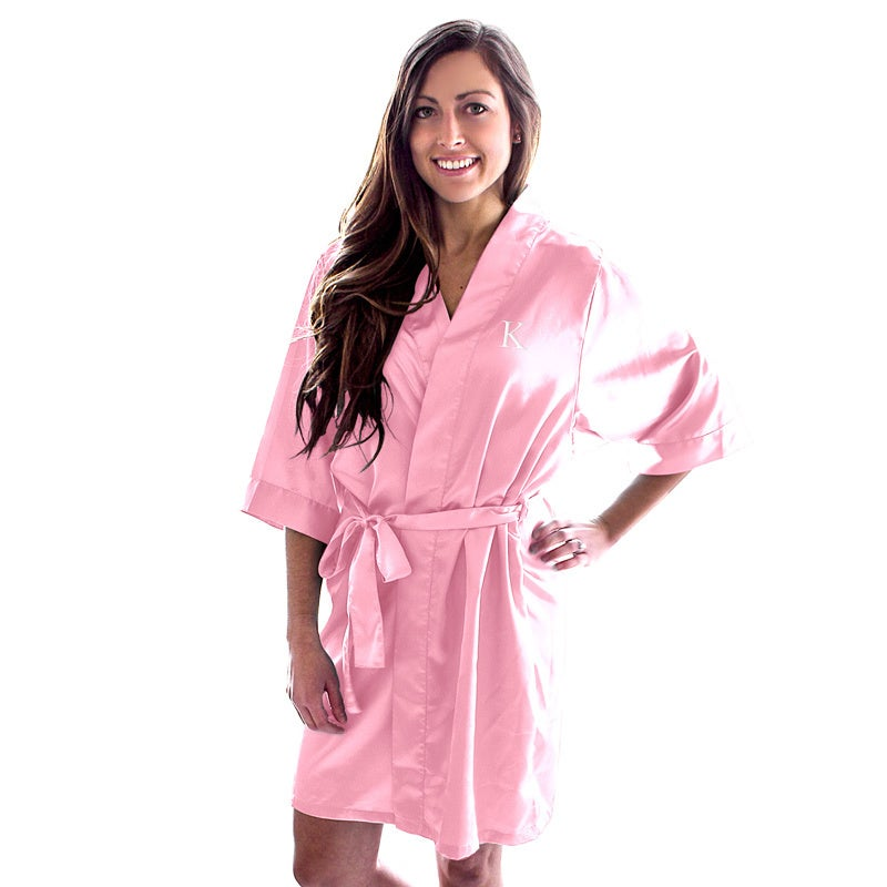Baby pink satin robe